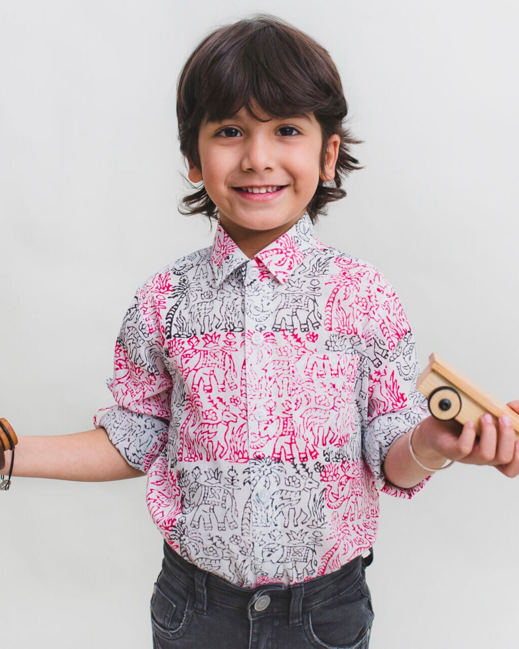 Pink and black fauna printed cotton shirt