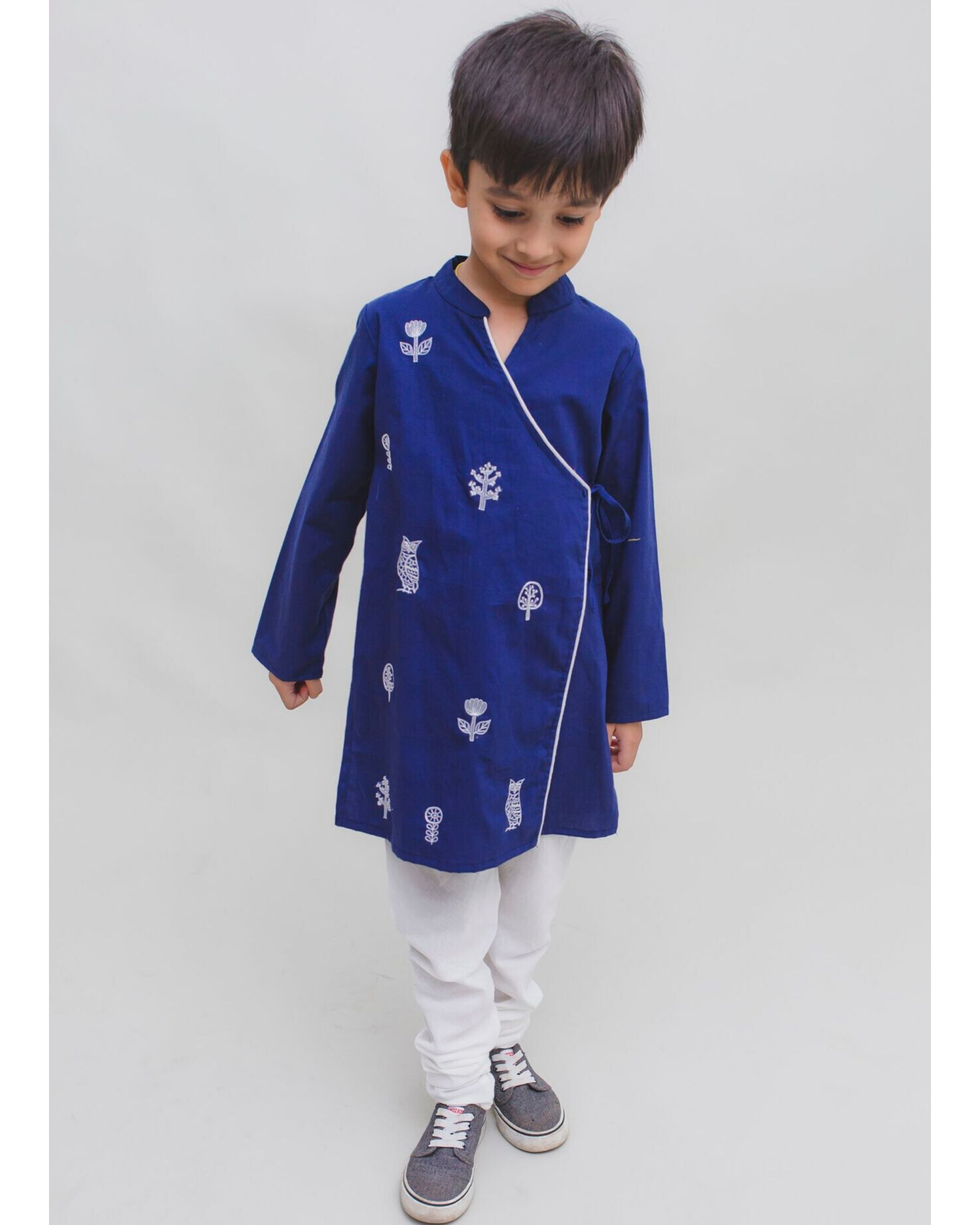Royal blue owl embroidered angrakha kurta and Pyjama Set - Set Of Two