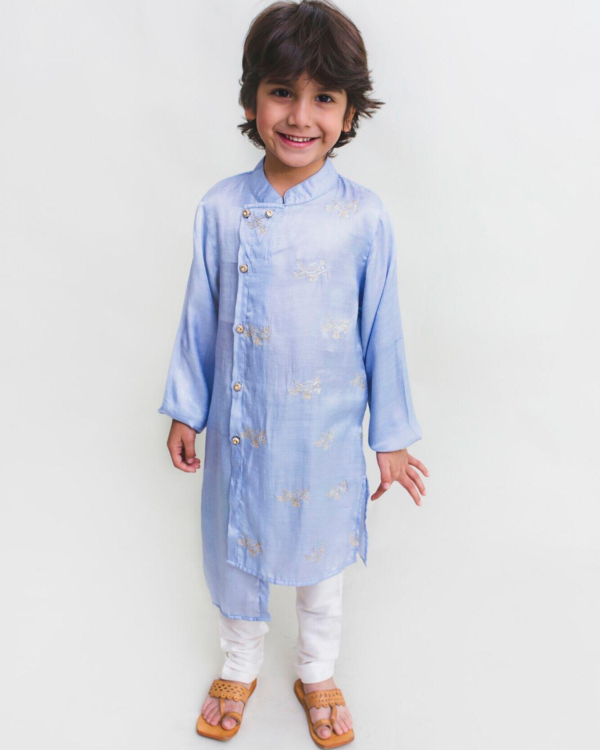 Cornflower blue bird embroidered asymmetrical kurta and Pyjama Set - Set Of Two