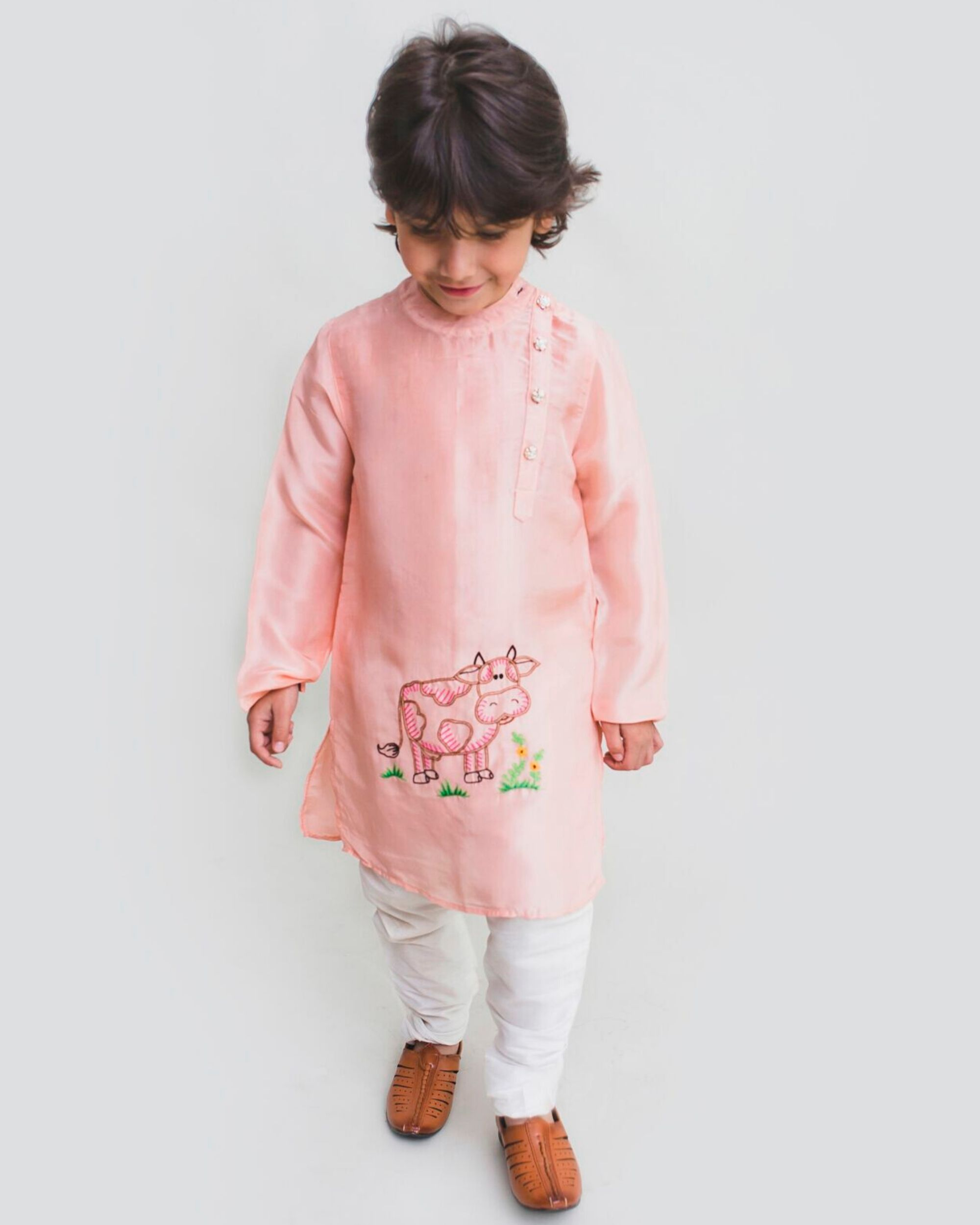 Peach pink cow embroidered kurta and Pyjama Set - Set Of Two
