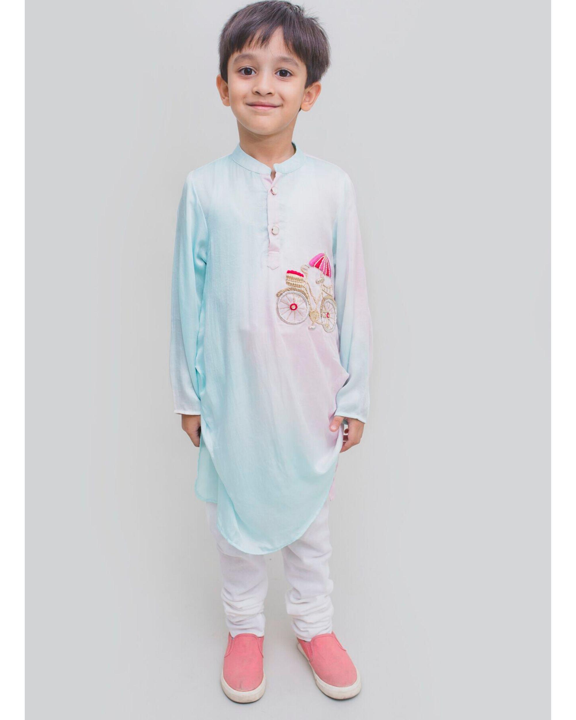 Light blue and pink bicycle embroidered kurta and Pyjama Set - Set Of Two