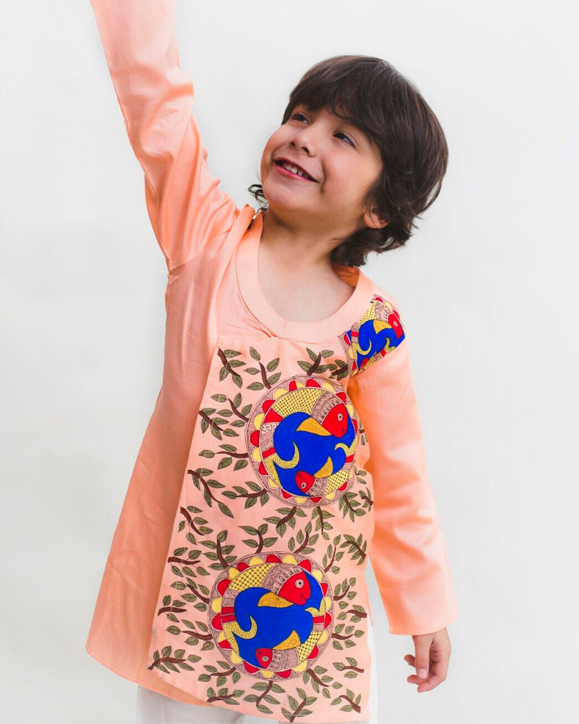 Peach madhubani hand painted kurta and Pyjama Set - Set Of Two