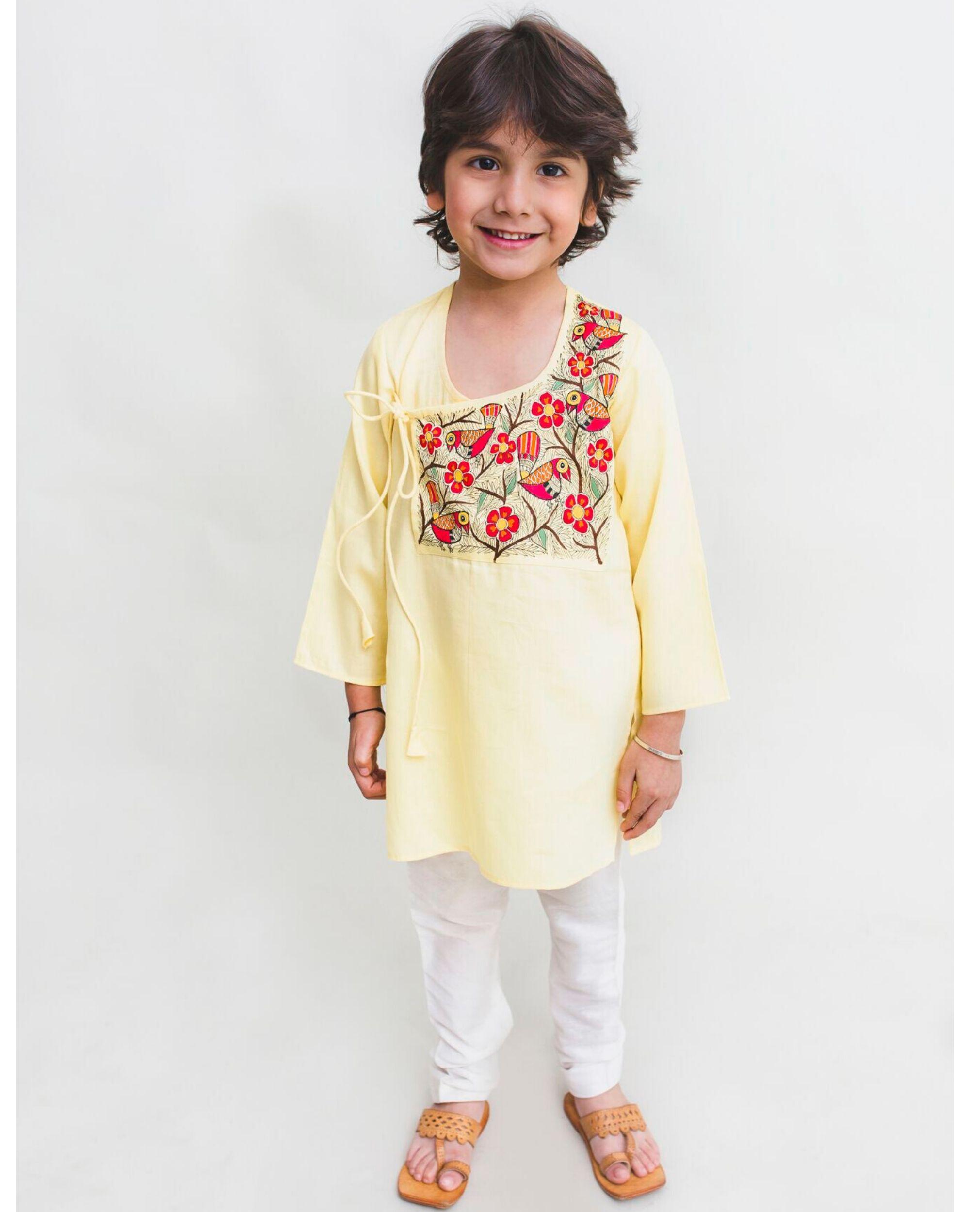 Light yellow madhubani hand painted kurta and Pyjama Set - Set Of Two