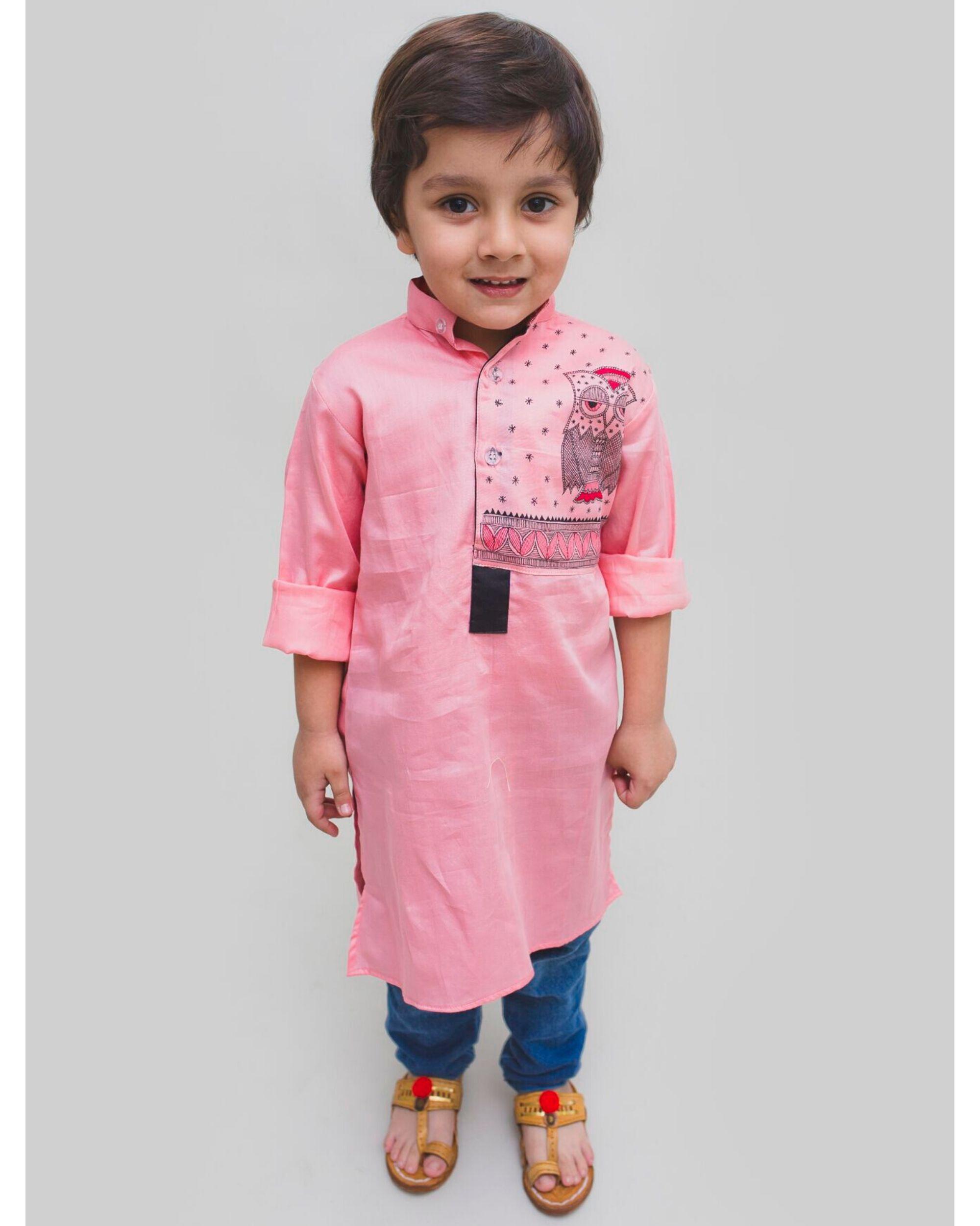 Pink madhubani hand painted kurta