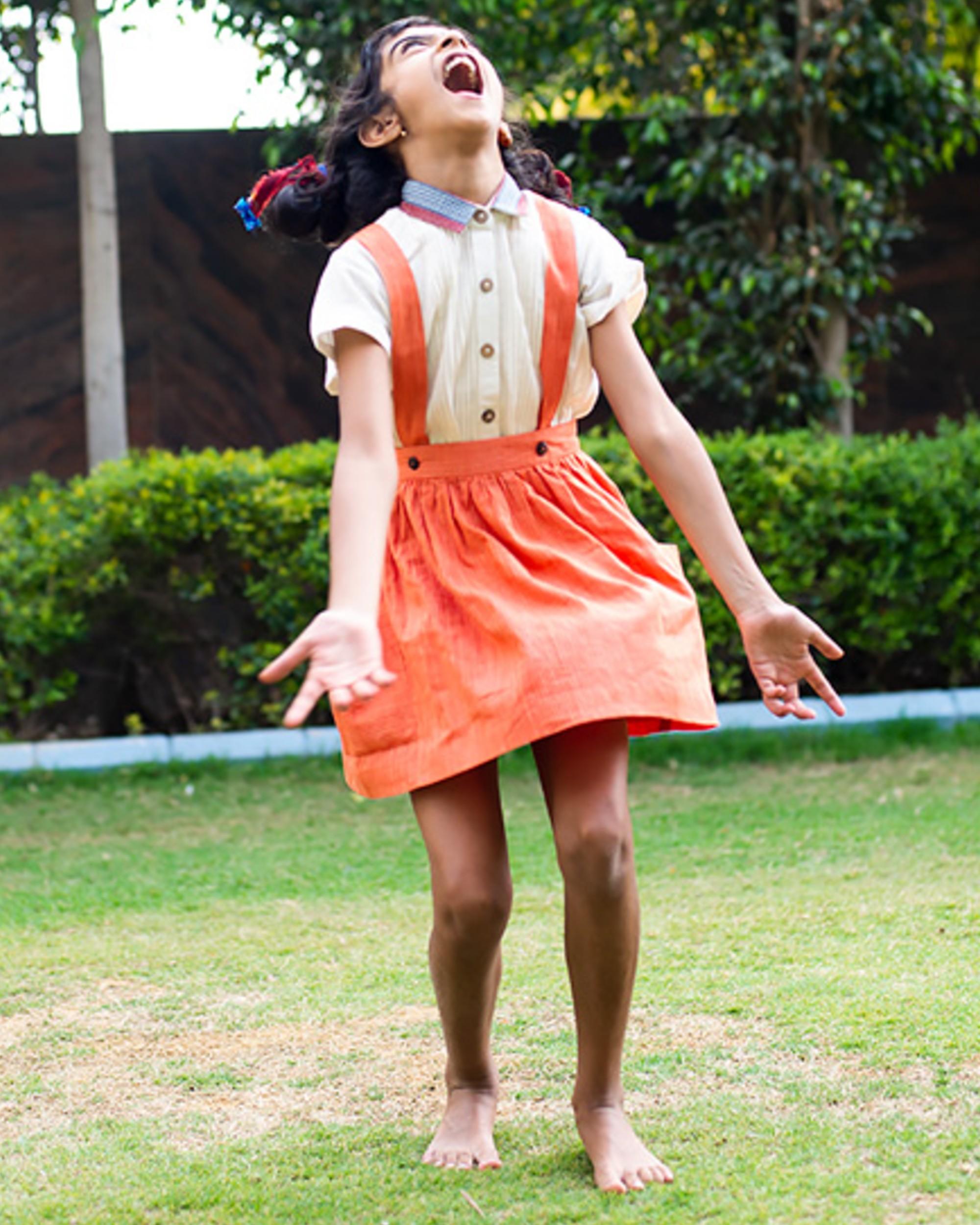 Tangerine dungaree skirt