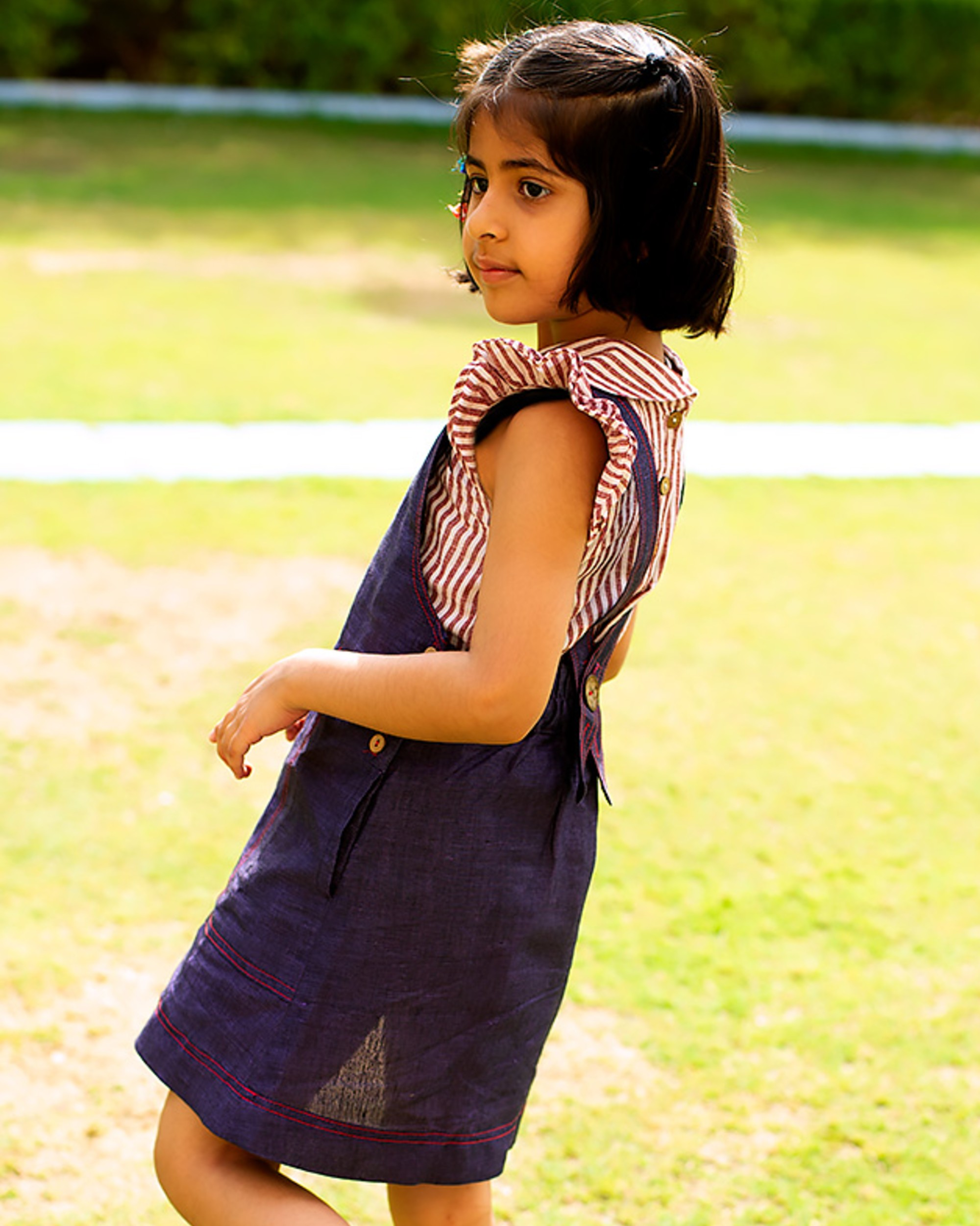 Indigo pinafore embroidered dress