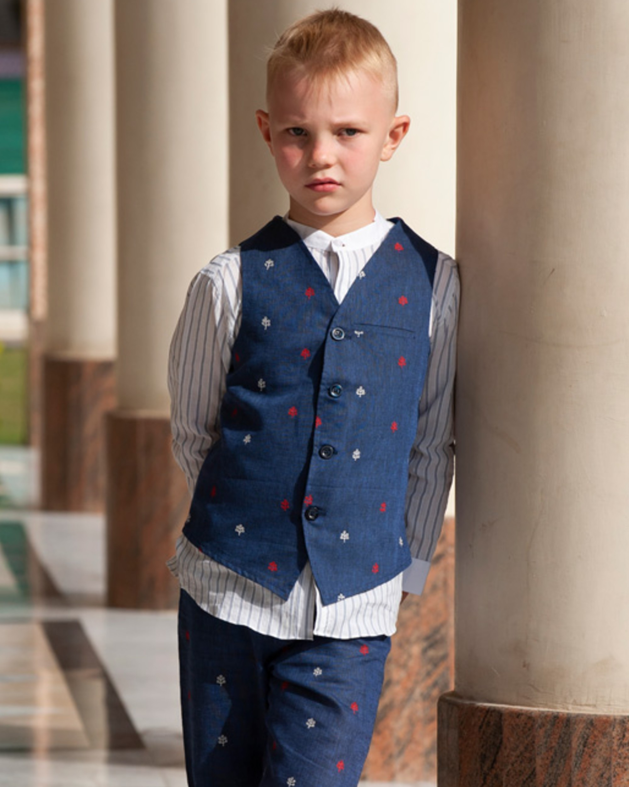 Indigo floral embroidered waistcoat
