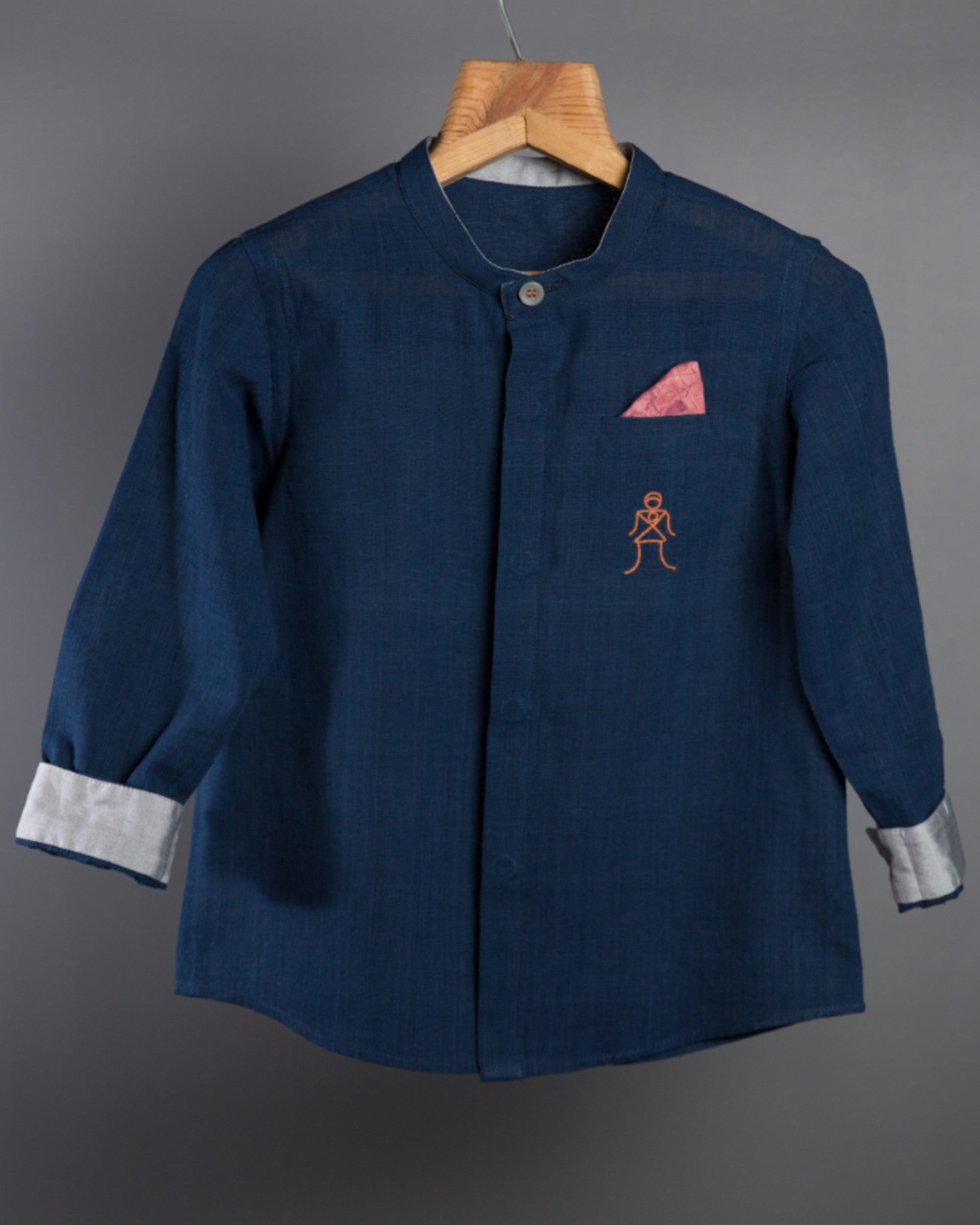 Indigo embroidered mandarin shirt
