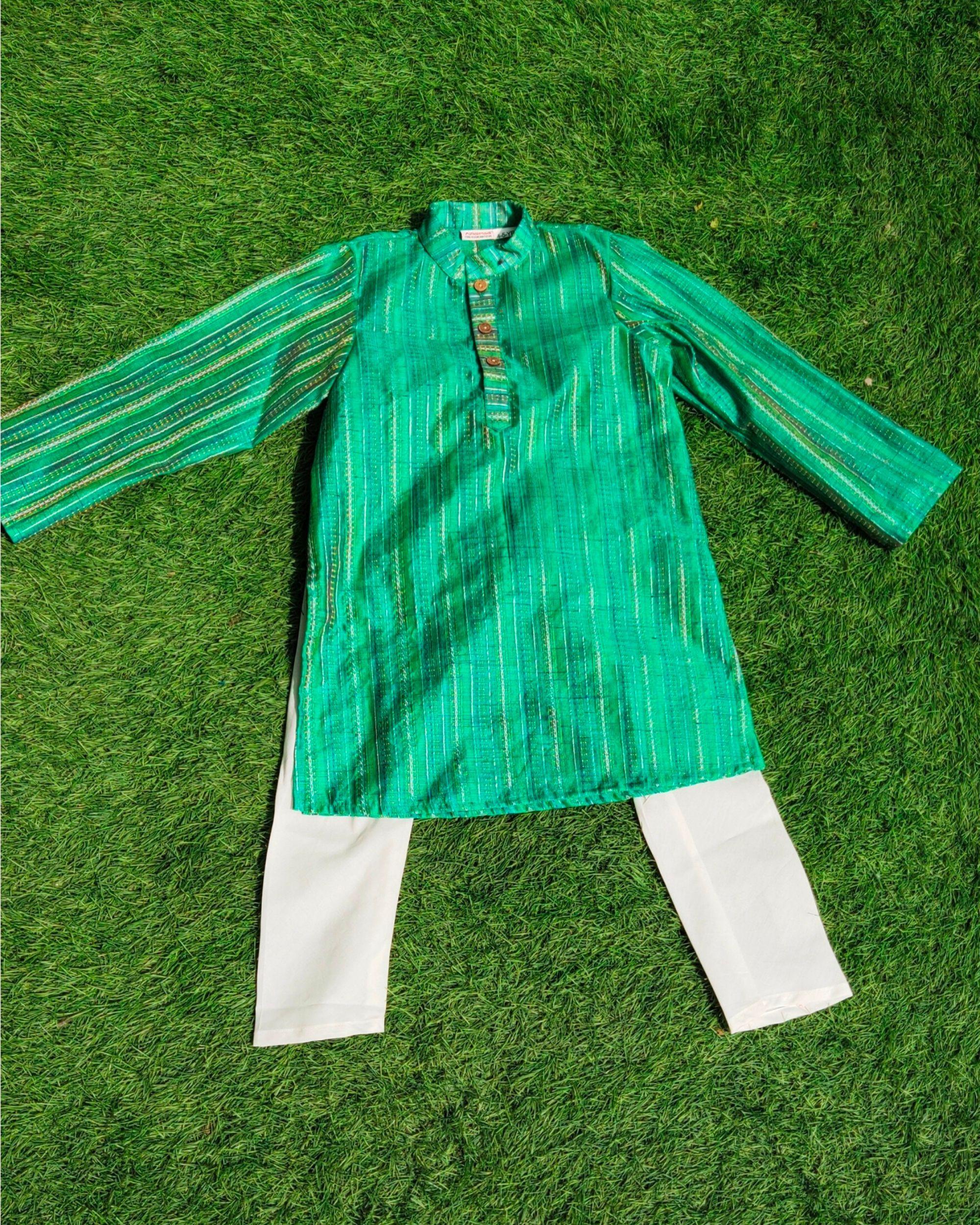 Green striped mandarin kurta and pants- Set Of Two