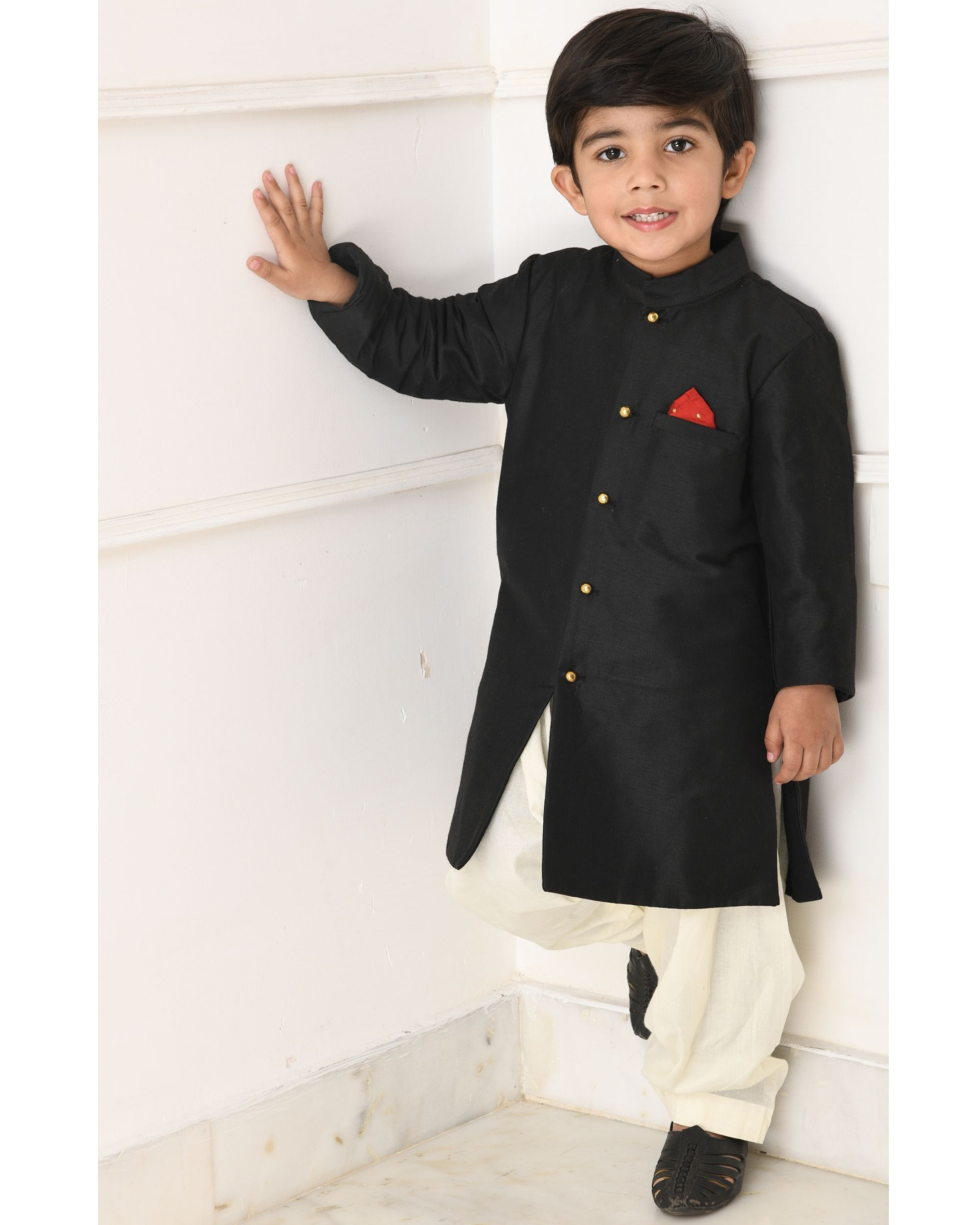 Black slit achkan with pants- Set Of Two