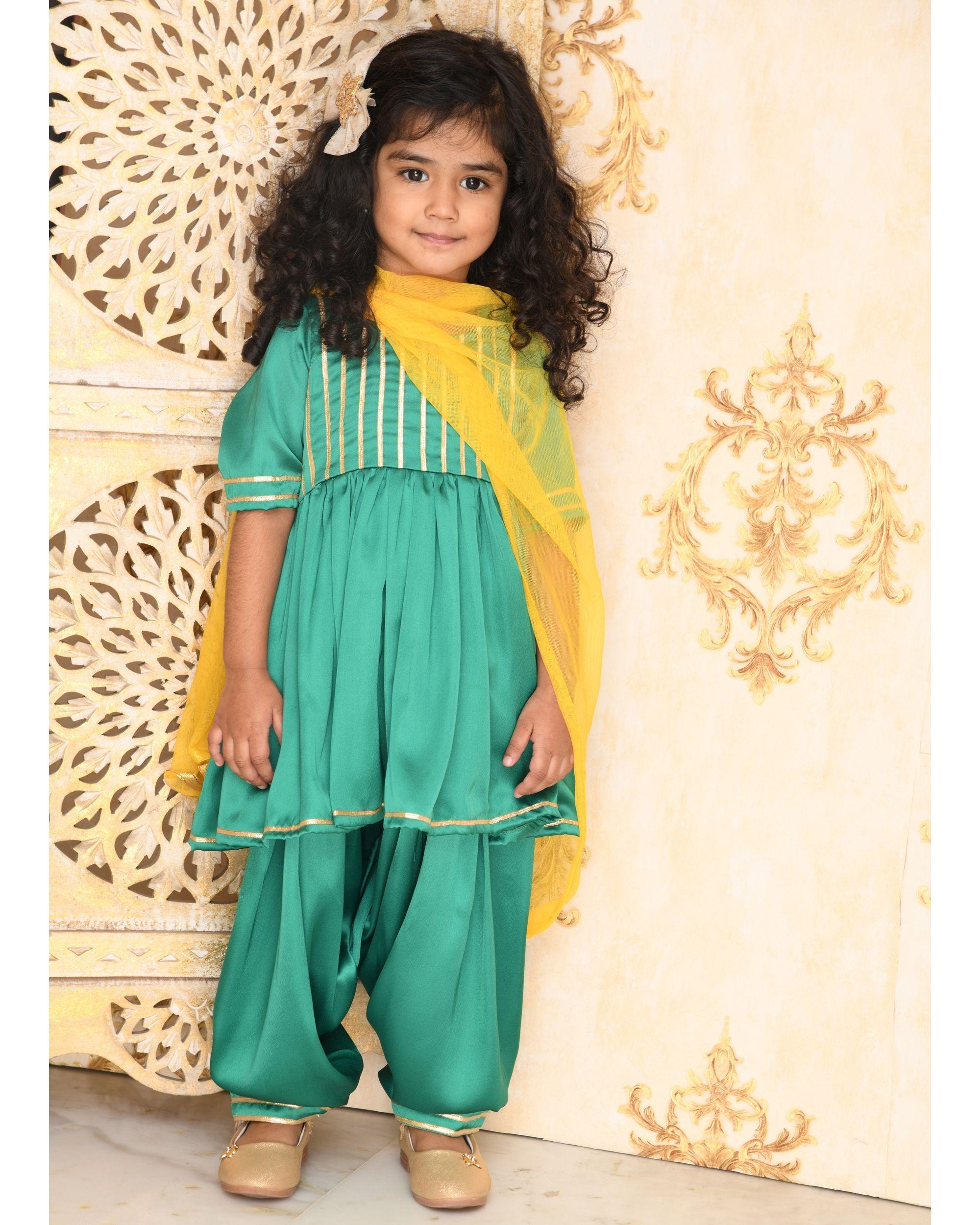 Emerald green striped yoke kurta and salwar with dupatta- Set Of Three
