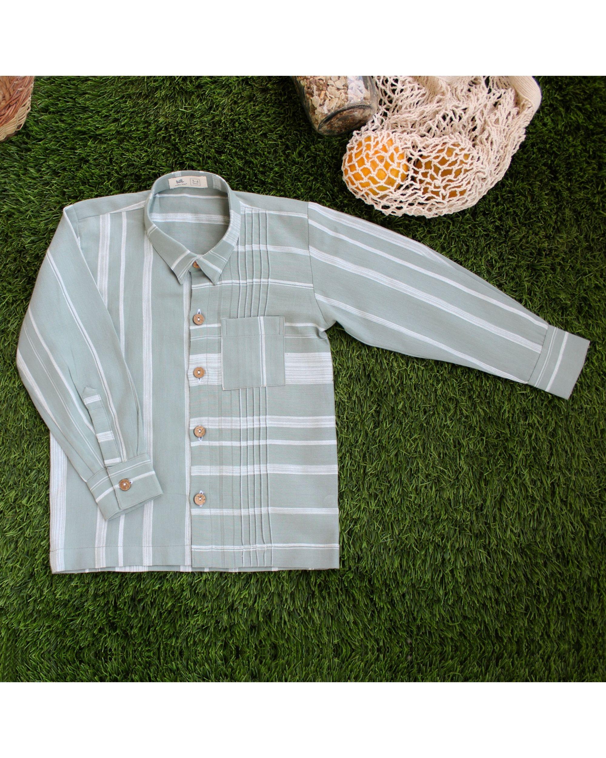 Green contrast striped shirt