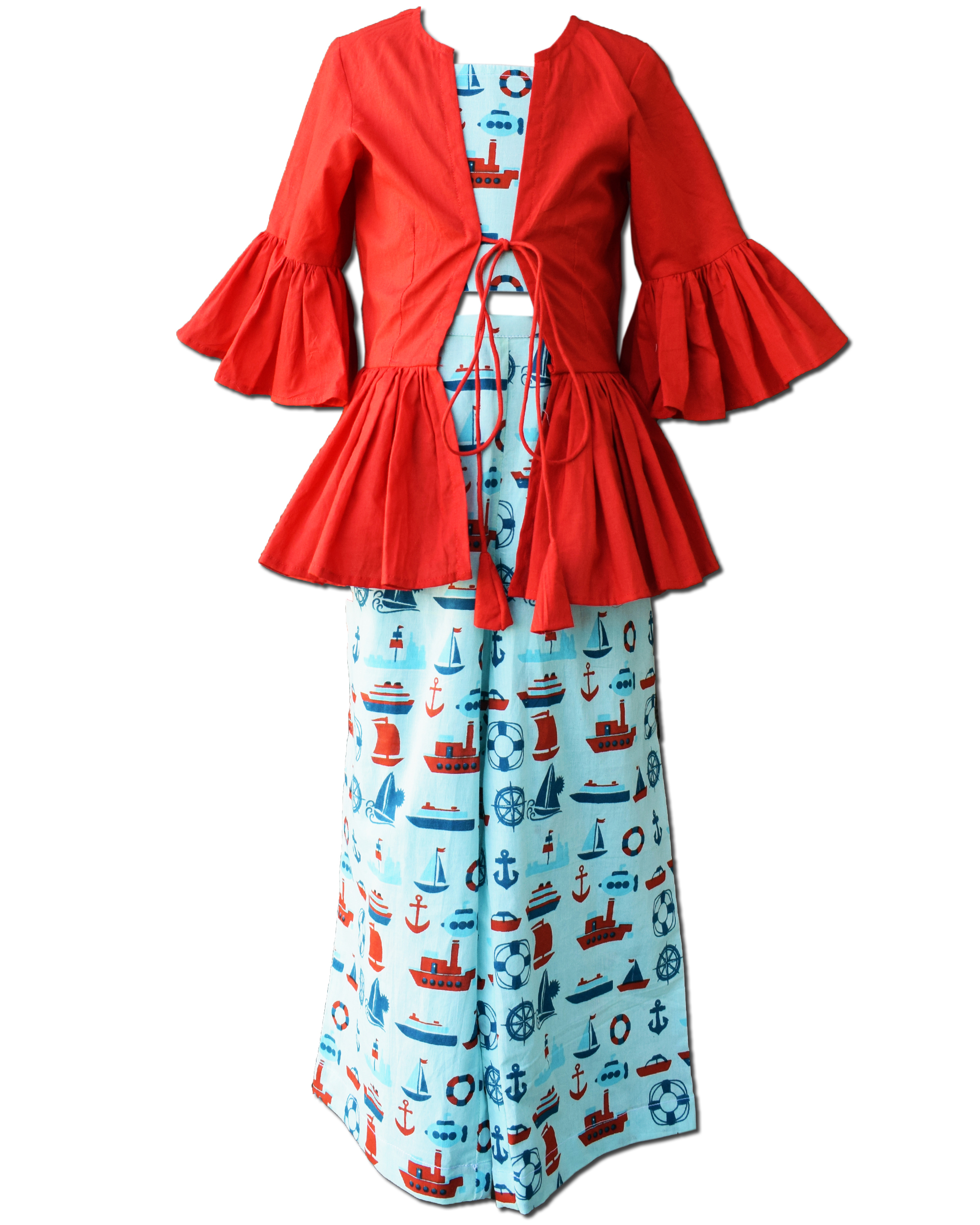 Light blue ship printed crop top and skirt with red ruffled shrug - Set Of Three