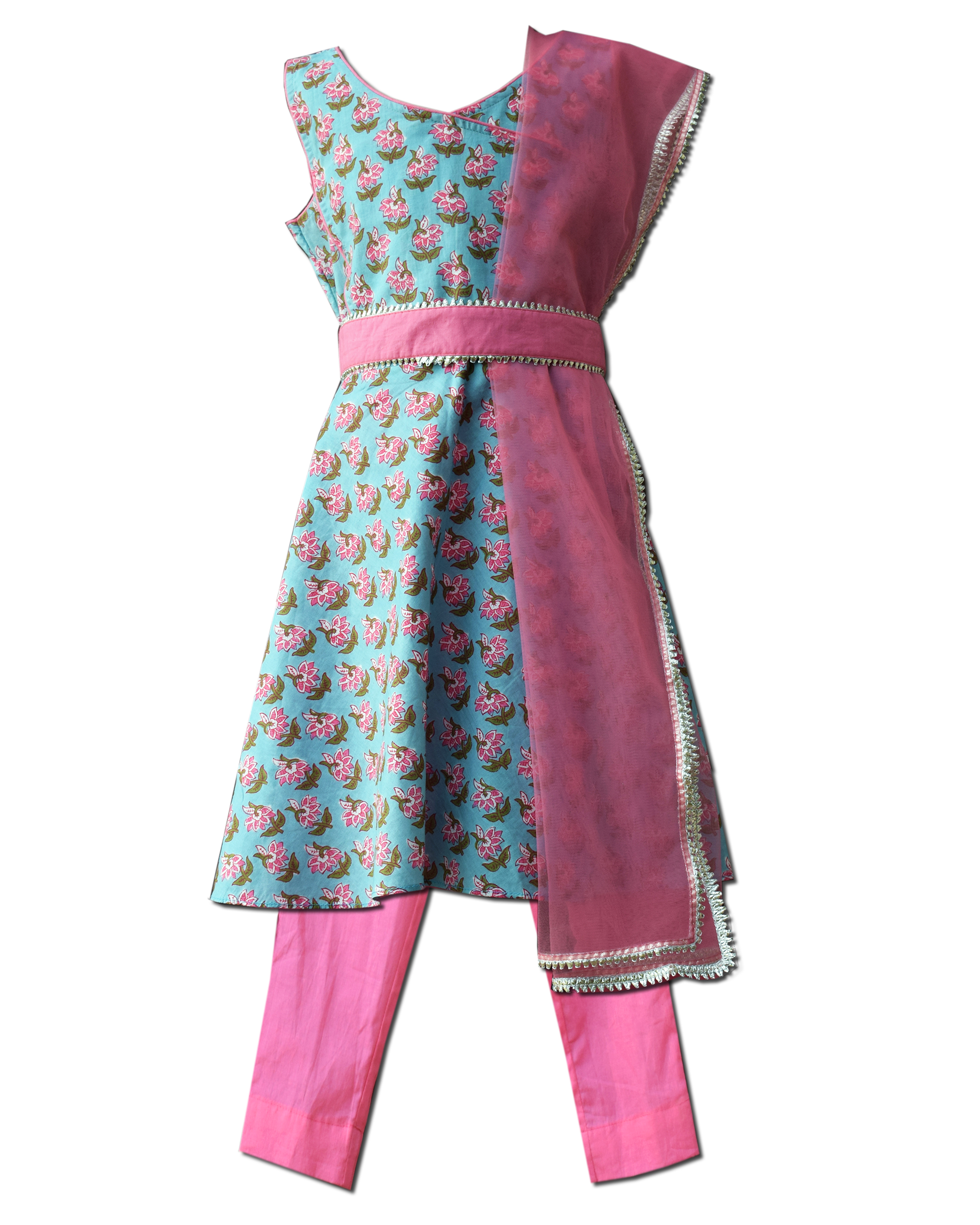 Blue floral printed angrakha dress with pants with dupatta - Set Of Four
