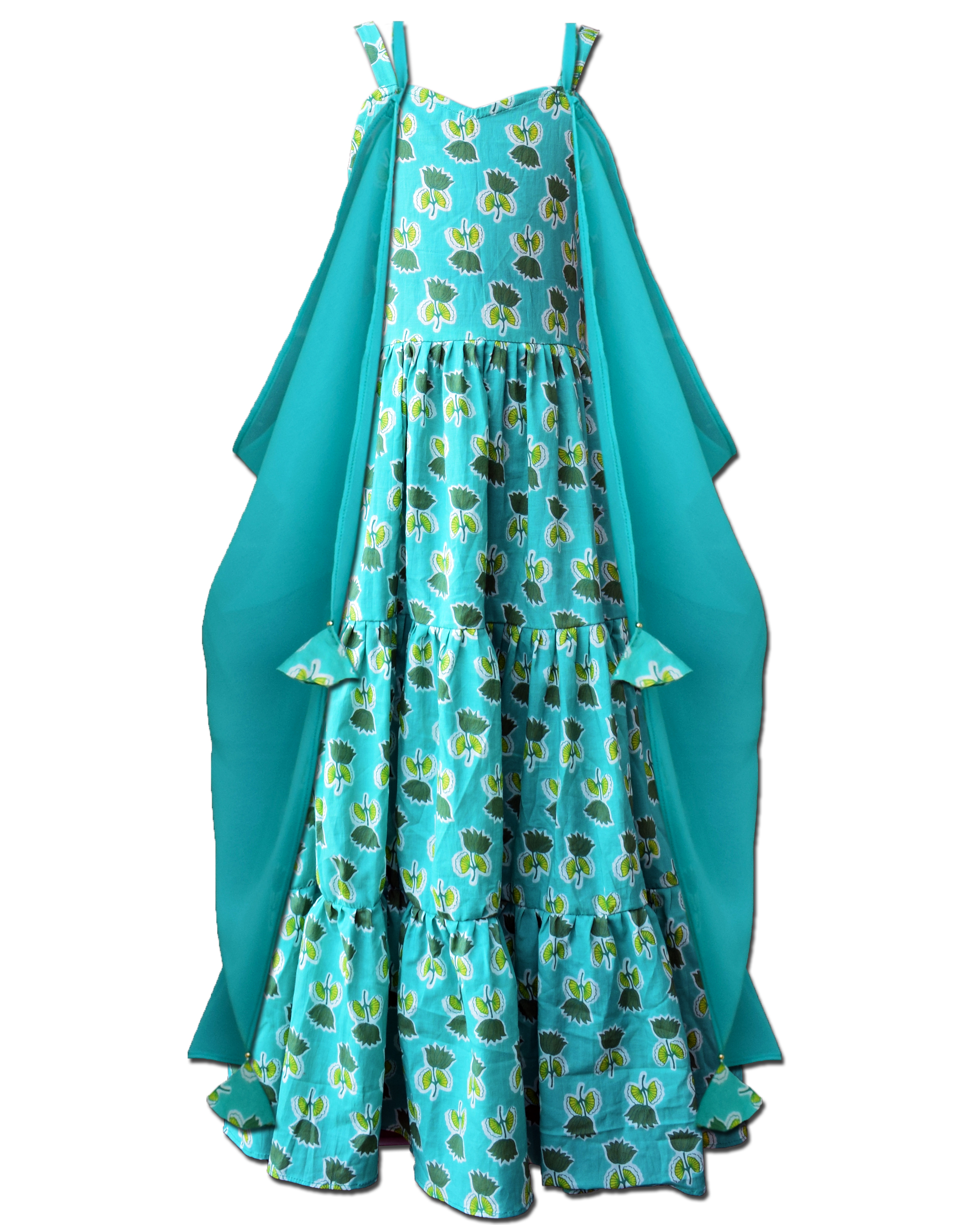 Sea green floral printed tiered dress with asymmetrical shrug - Set Of Two