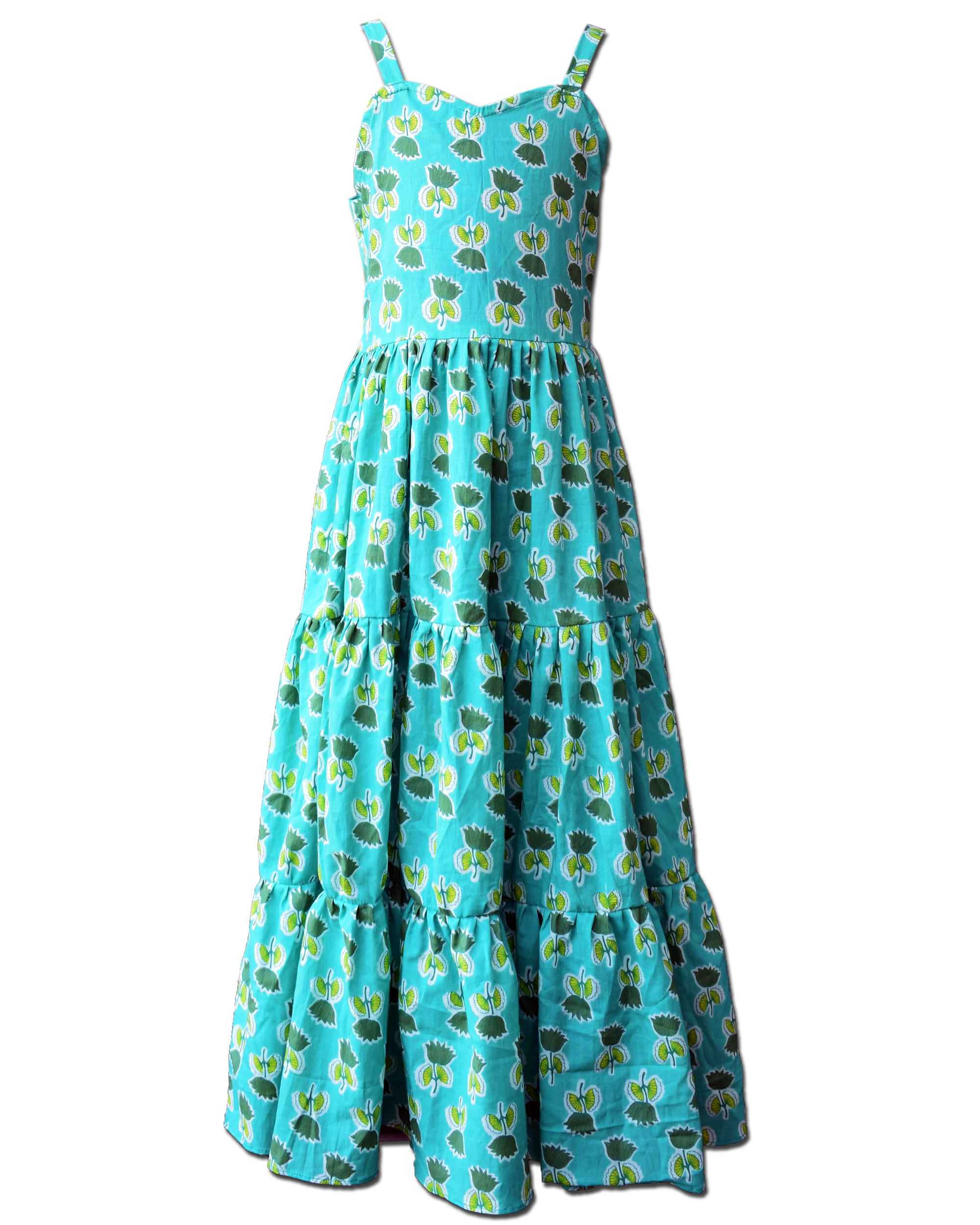 Sea green floral printed tiered dress