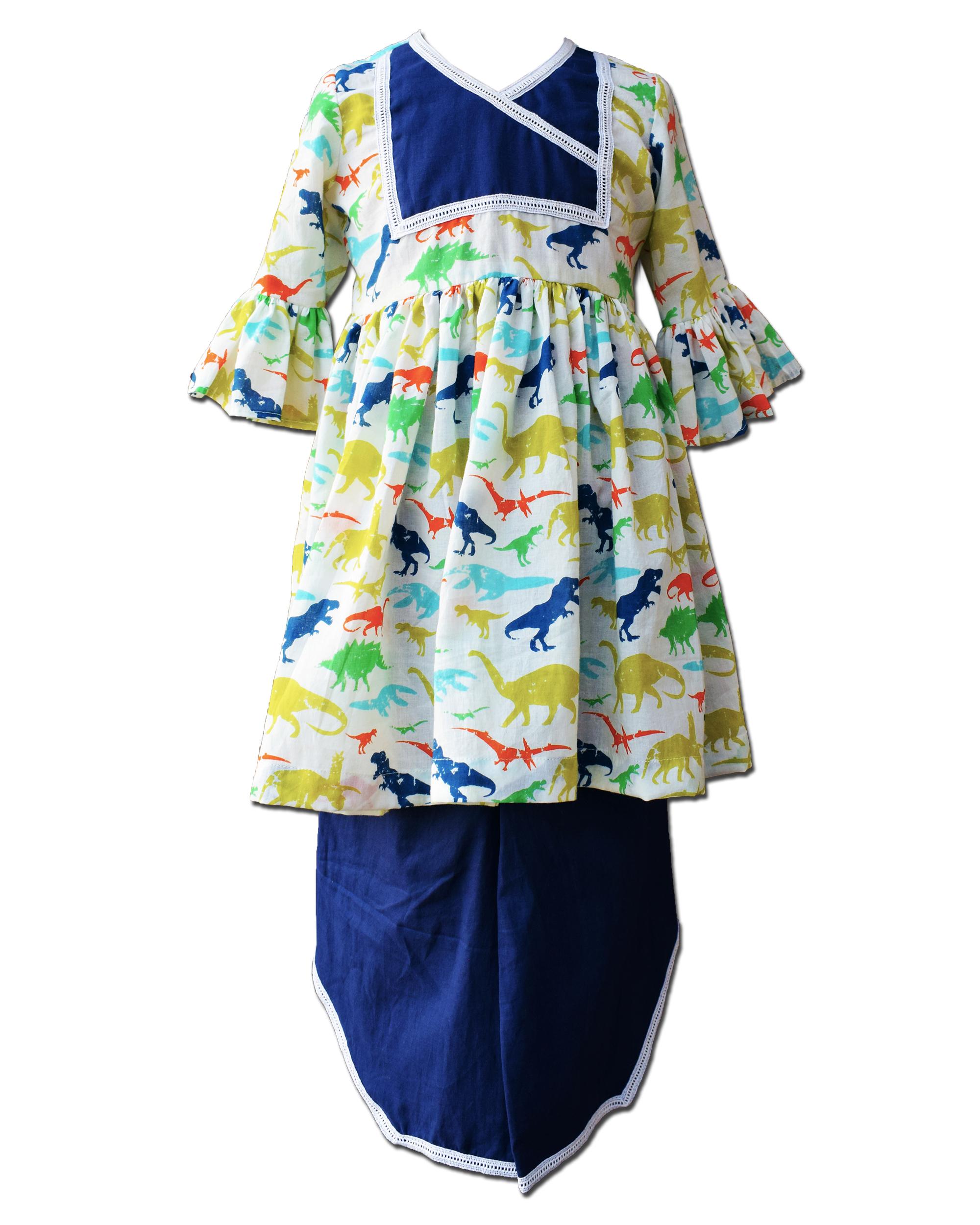 Dinosaur printed ruffled dress with blue dhoti pants - Set Of Two