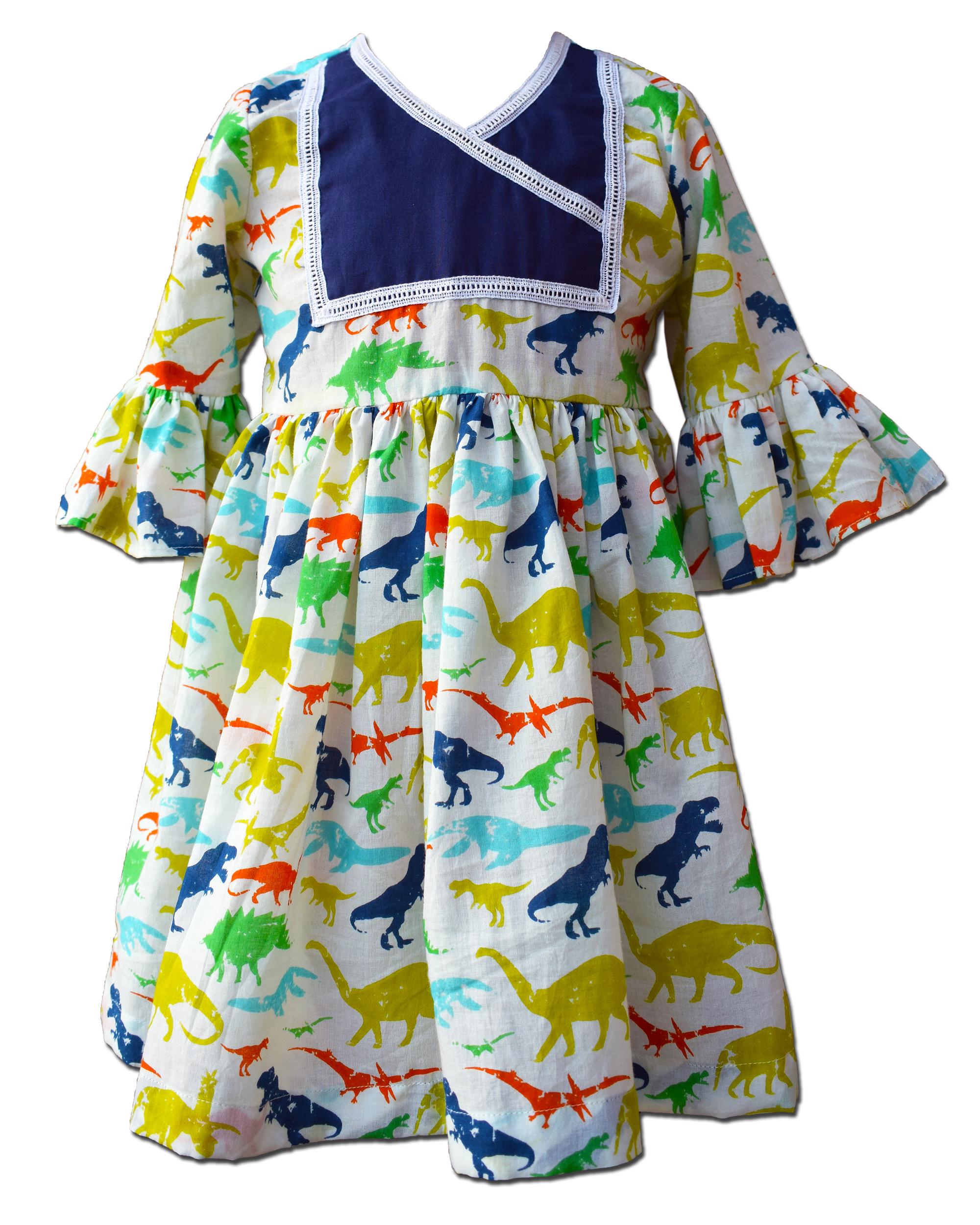 Dinosaur printed ruffled dress