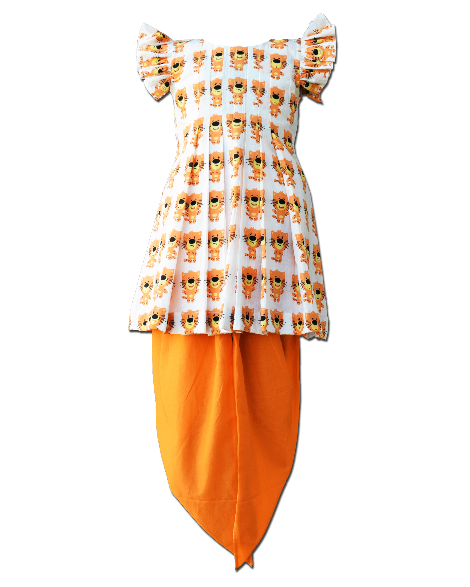 Lion printed frilled dress with dhoti pants - Set Of Two