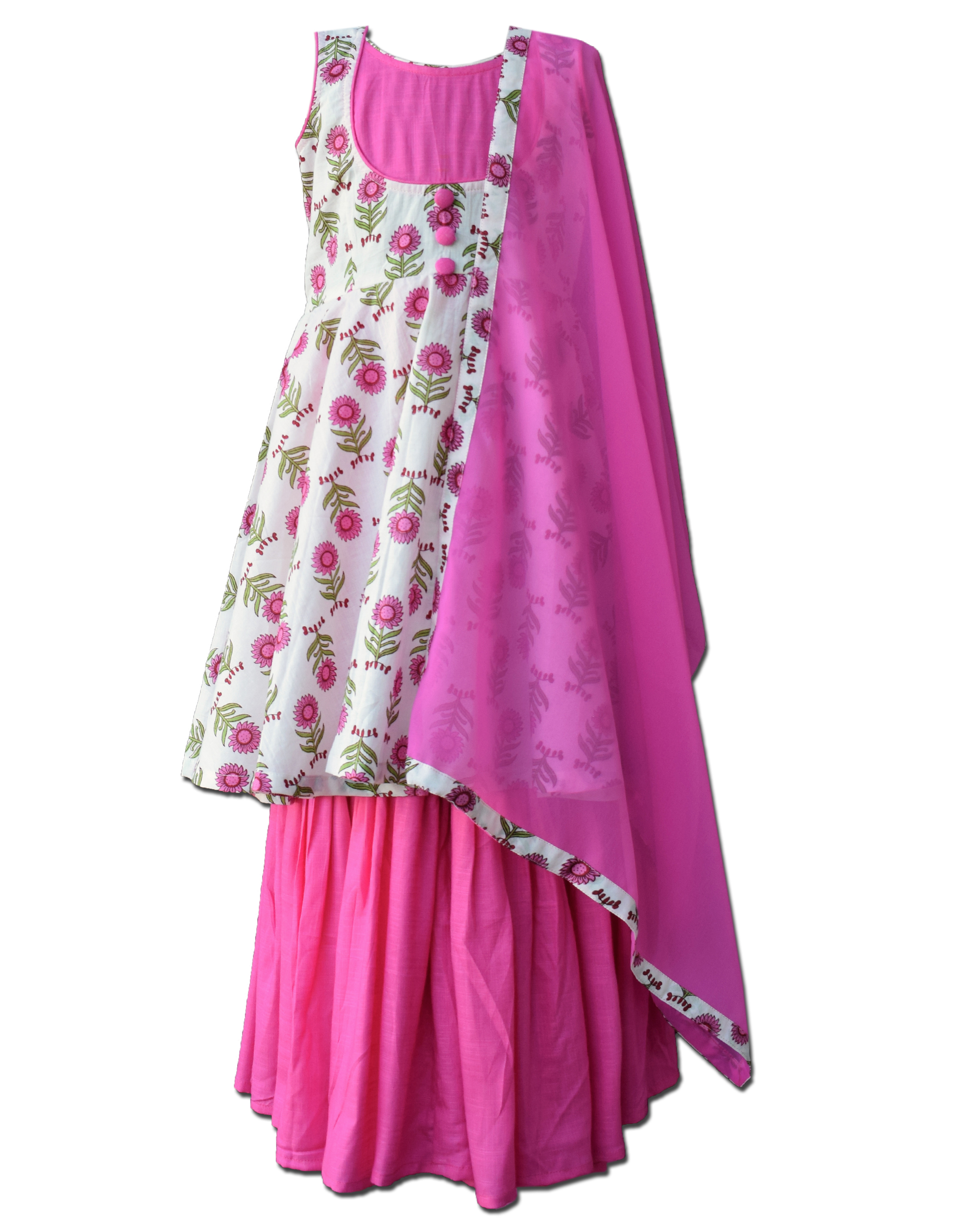 White and pink floral printed yoke dress and sharara with dupatta - Set Of Three