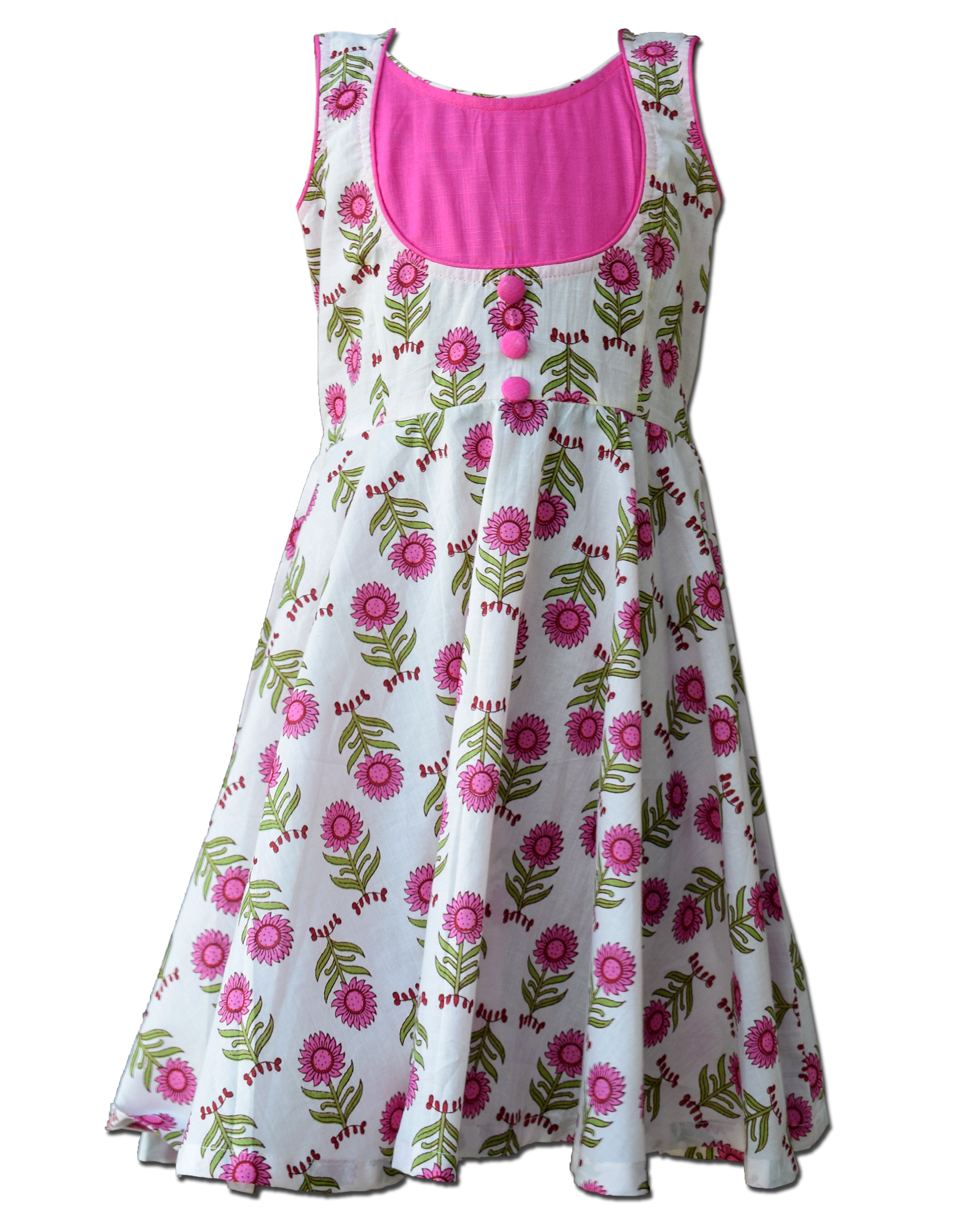 White and pink floral printed yoke dress