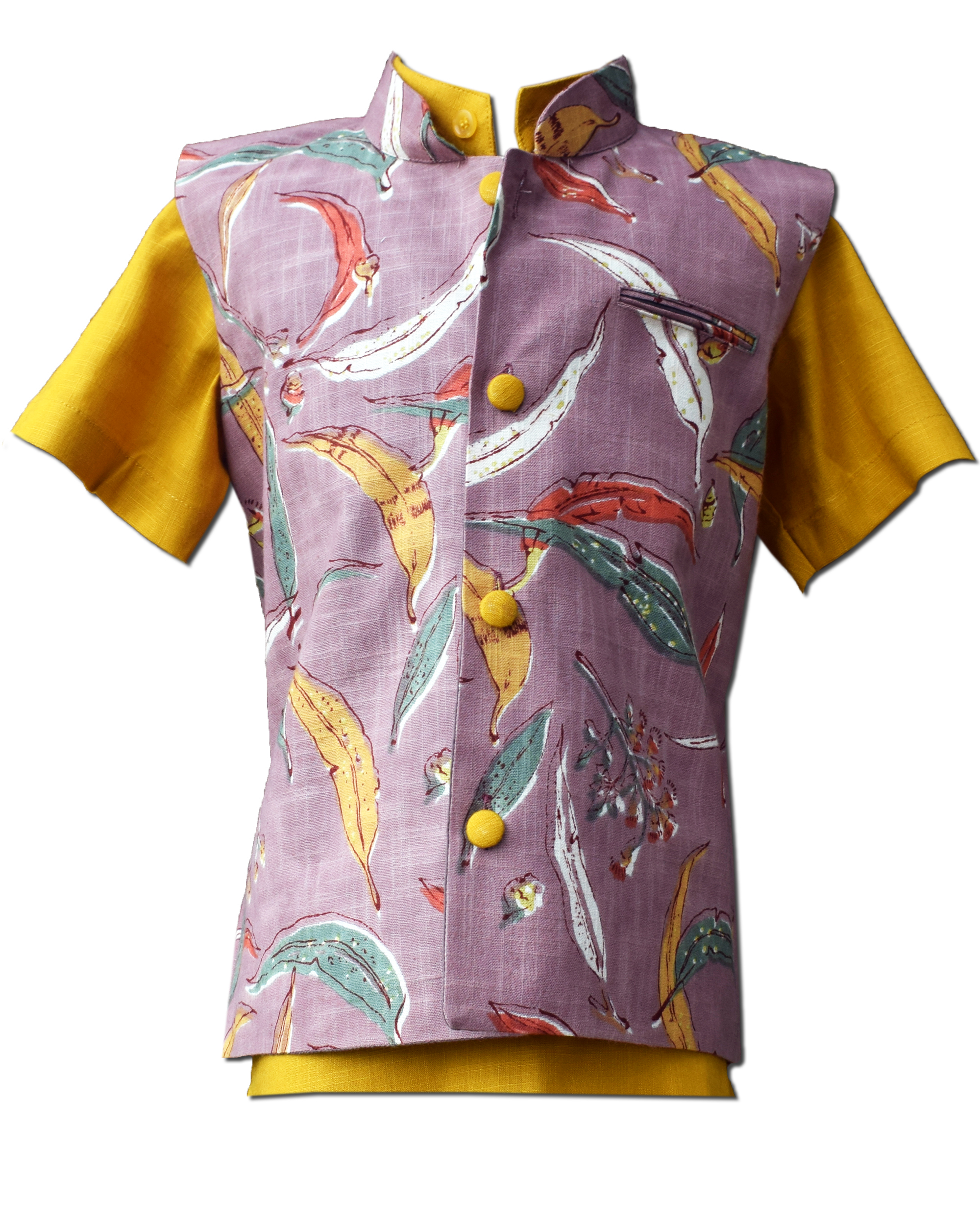 Mauve leaf printed nehru jacket with shirt - Set Of Two