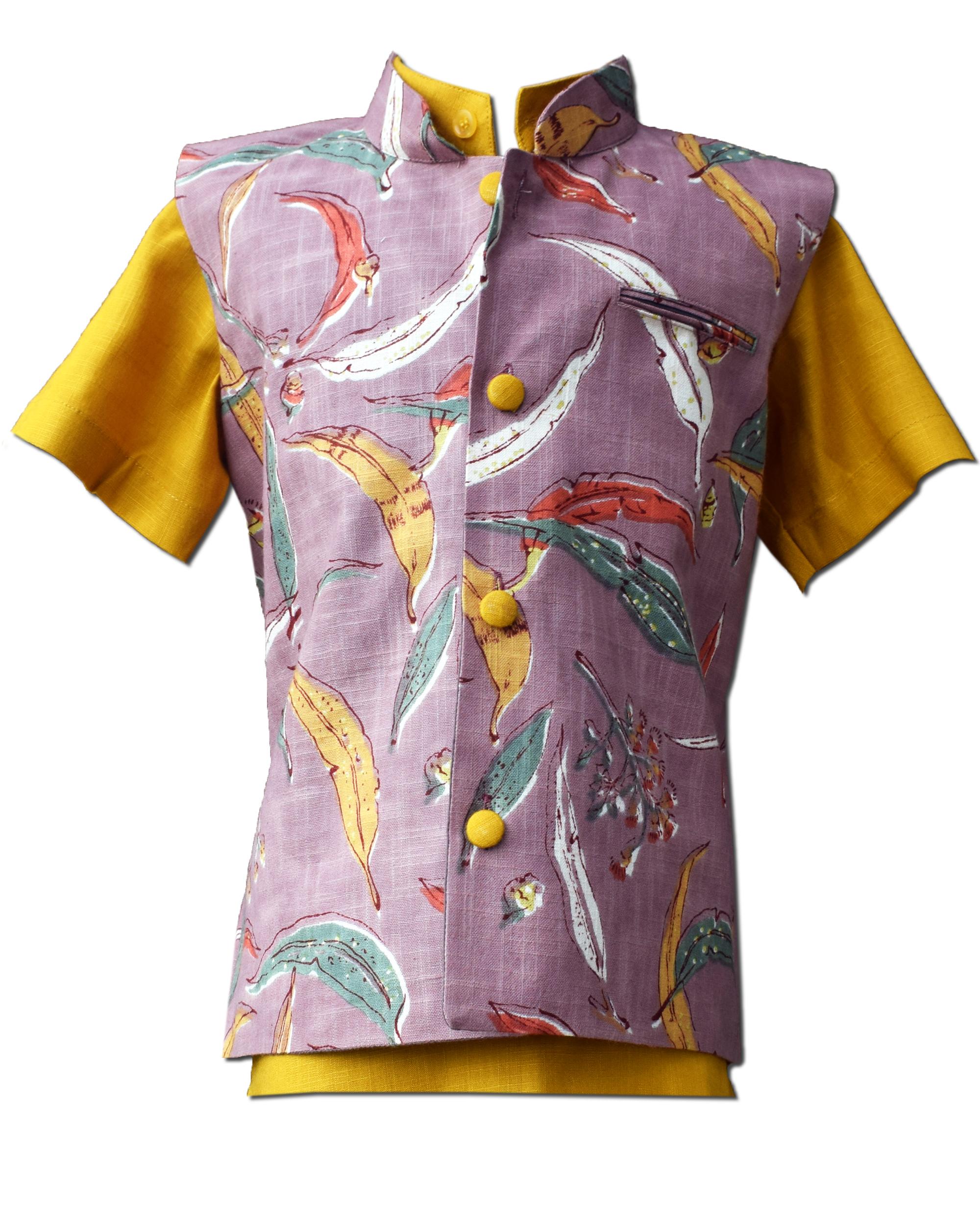 Mauve leaf printed nehru jacket