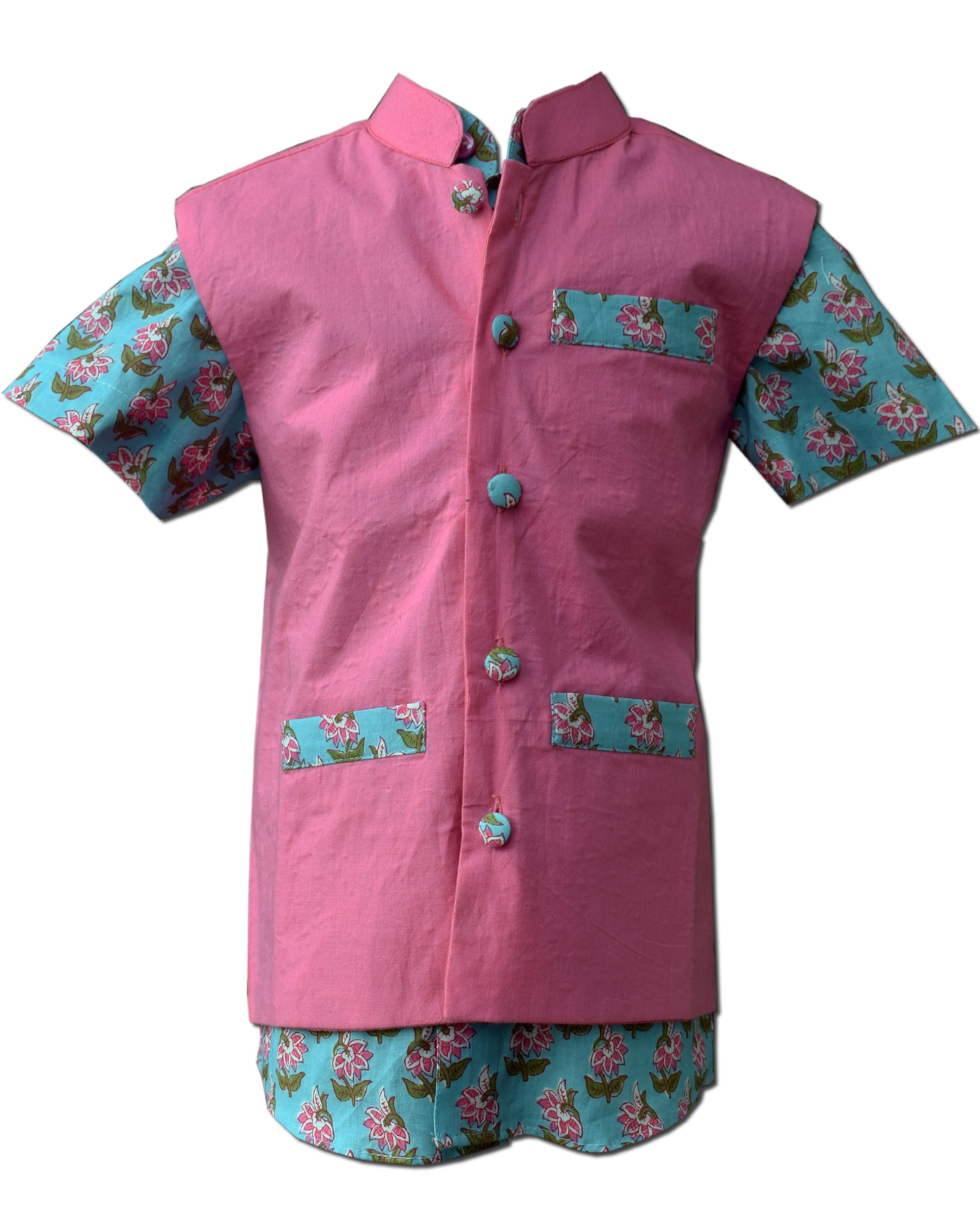 Blue floral printed mandarin shirt with nehru jacket - set of two