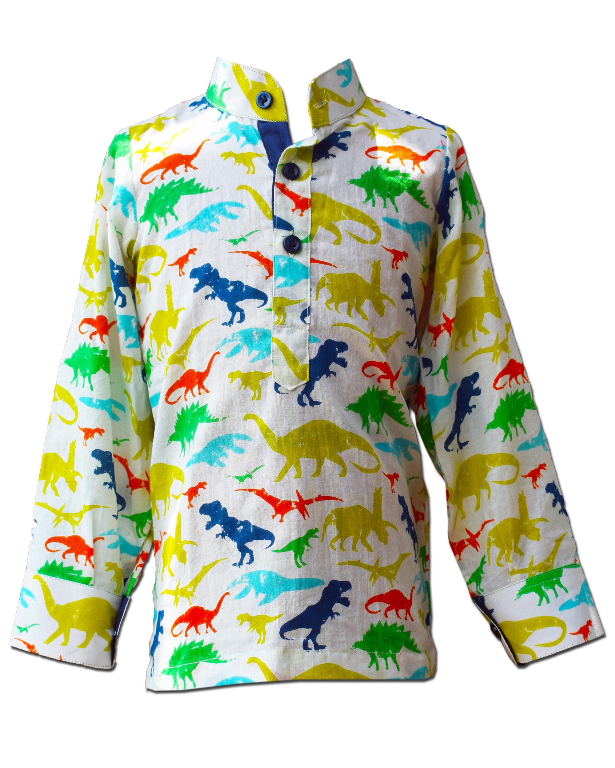 Dinosaur printed mandarin shirt