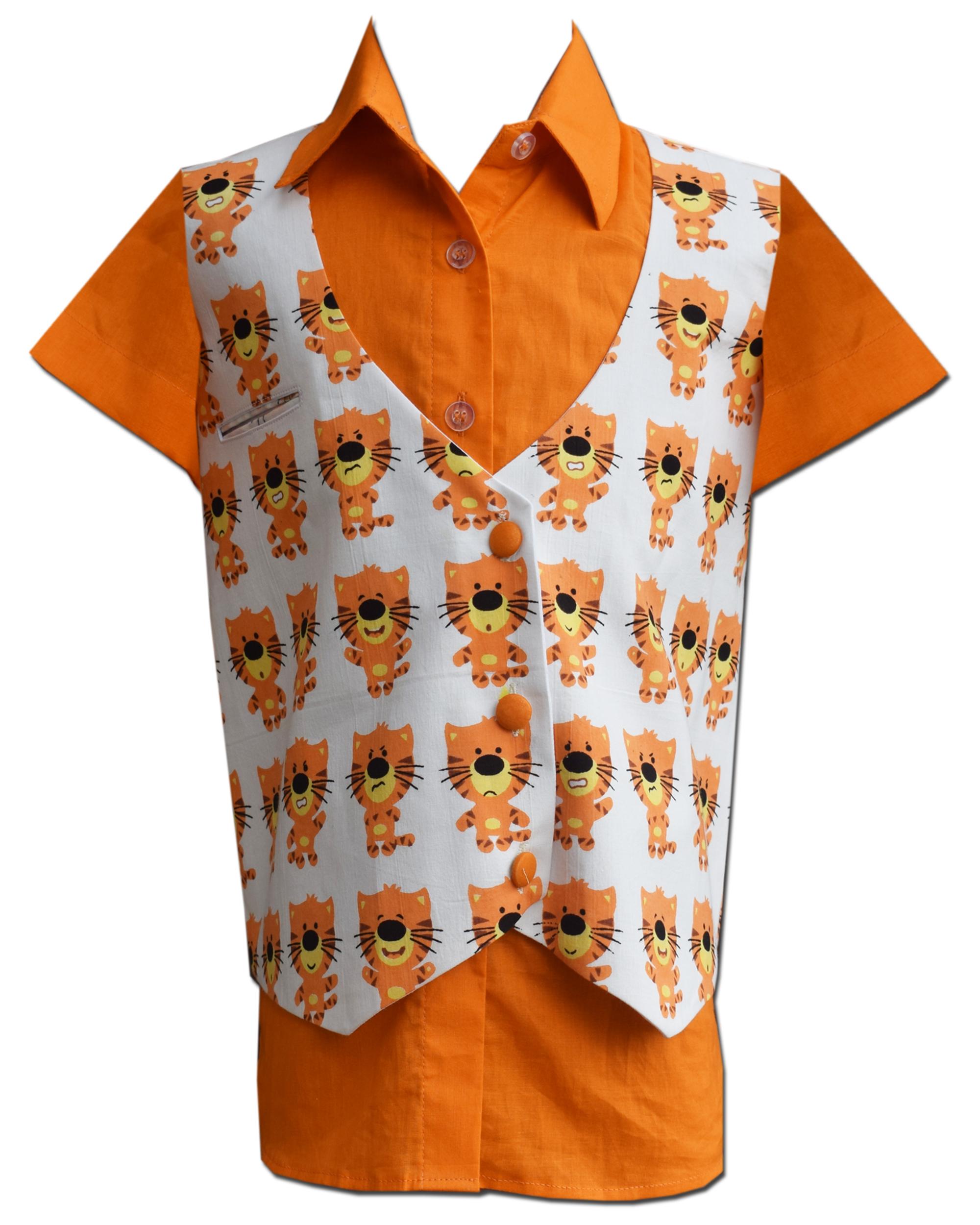 Orange lion printed waist coat with half sleeve shirt - Set Of Two