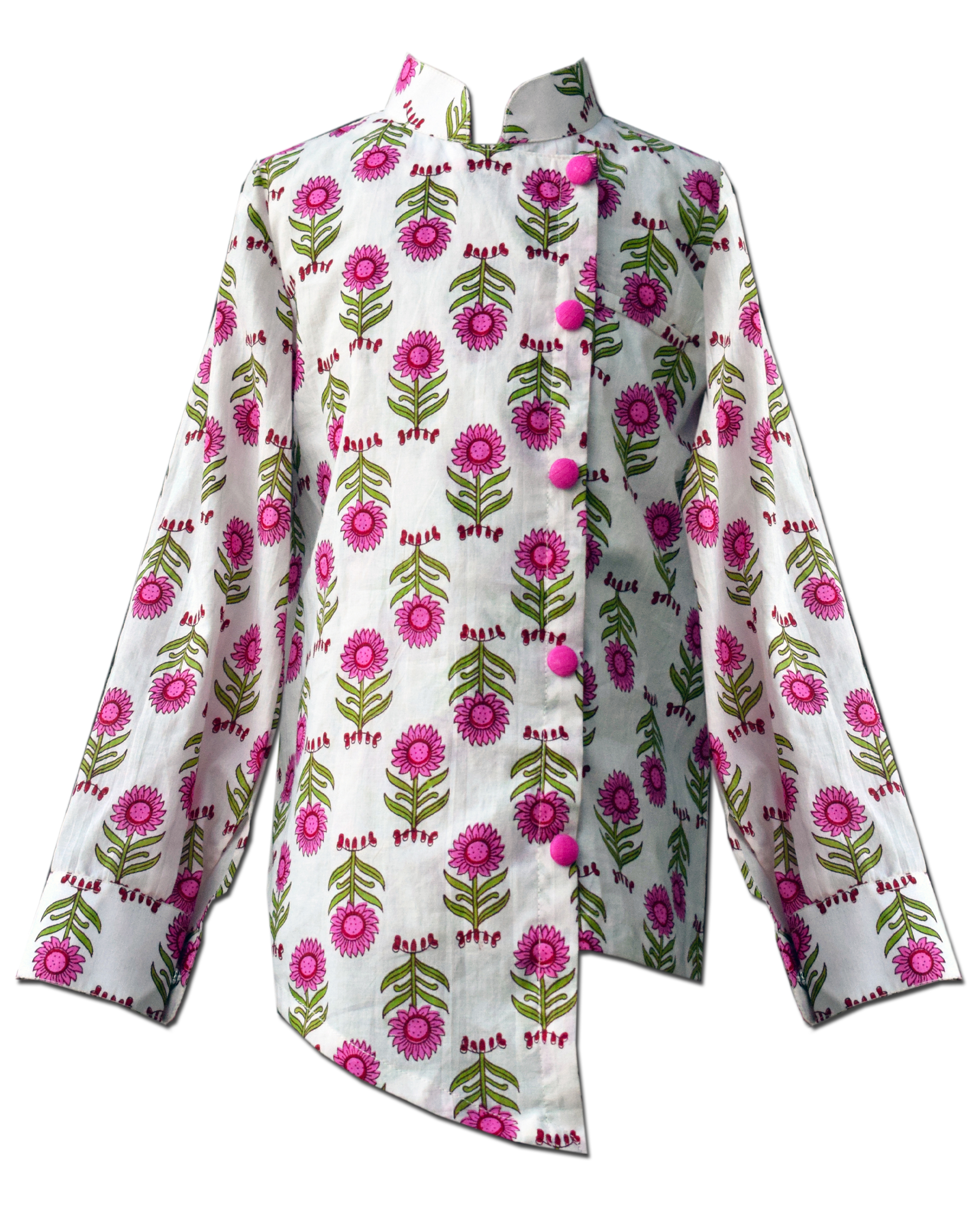 White and pink floral printed overlap shirt