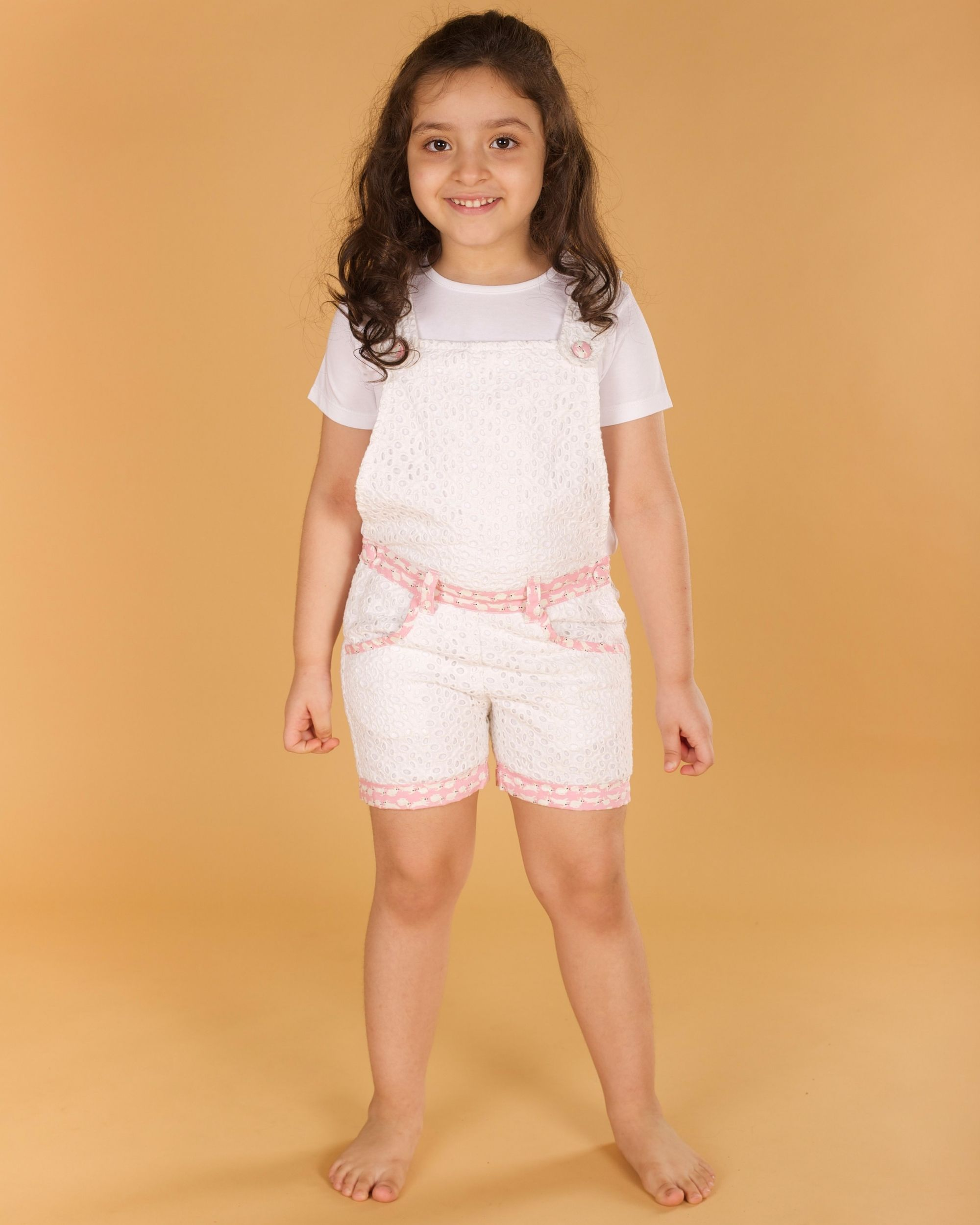 White bunny hop cutwork dungaree
