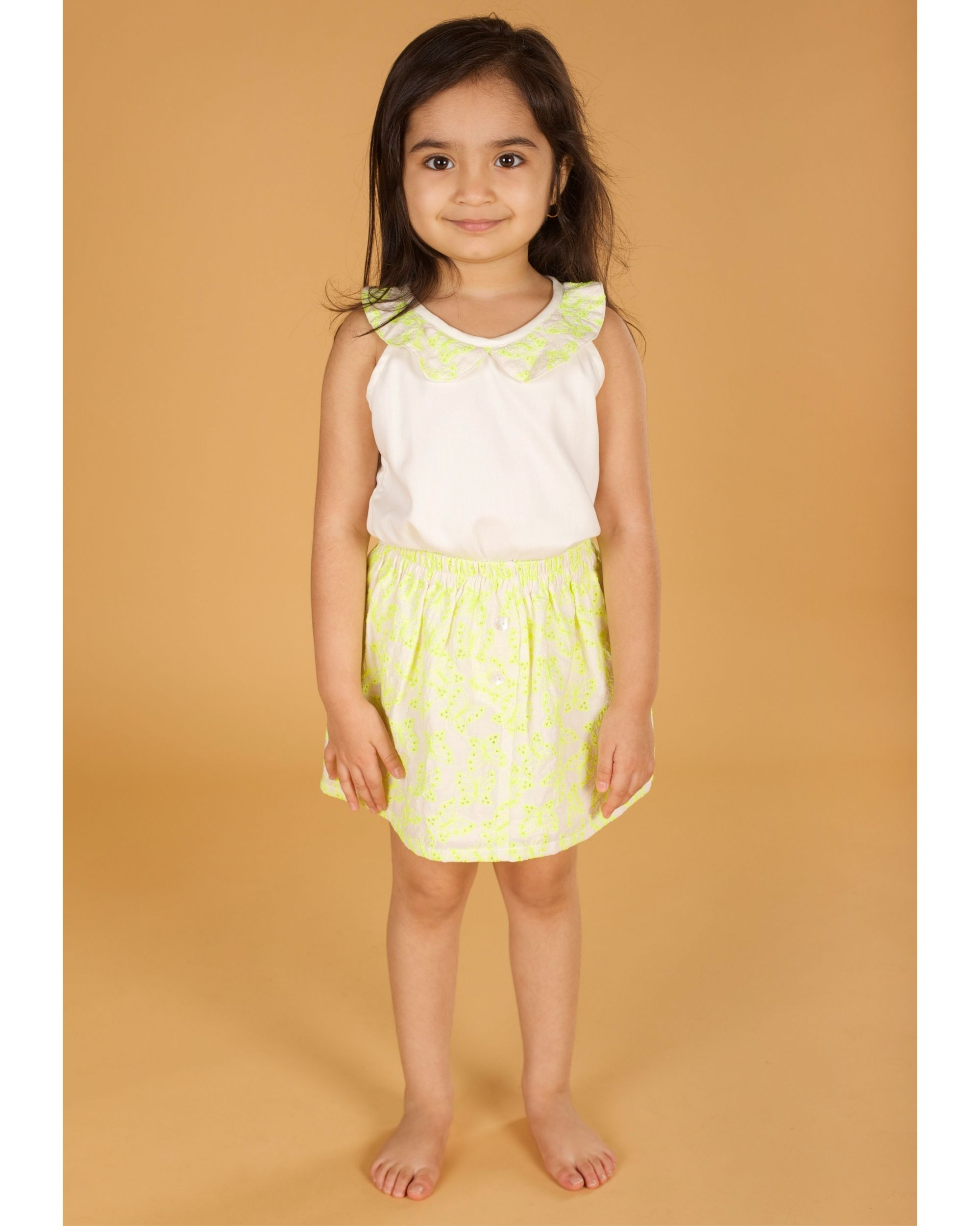 Yellow butterfly embroidered top and skirt - Set Of Two
