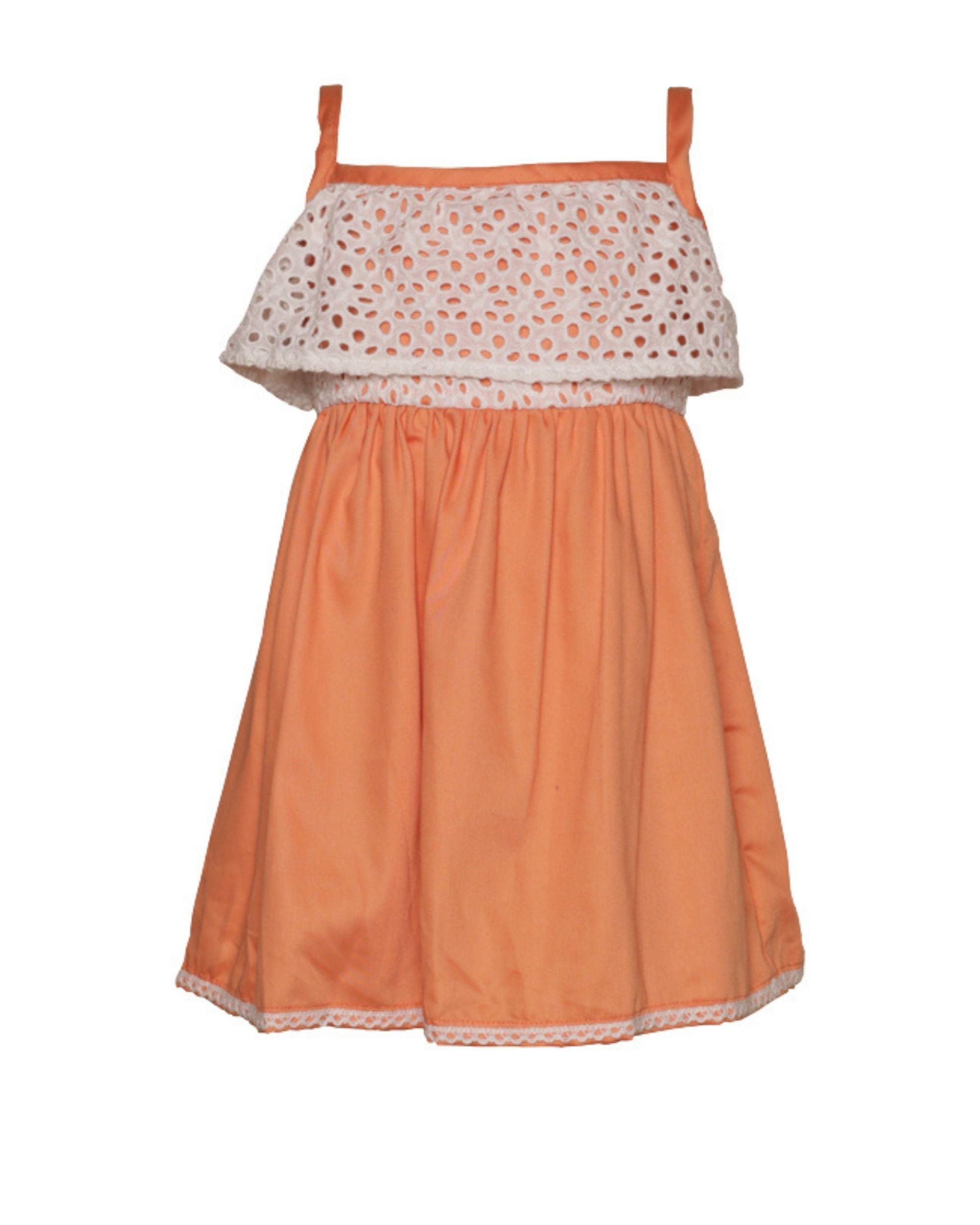 Peach cutwork strap dress