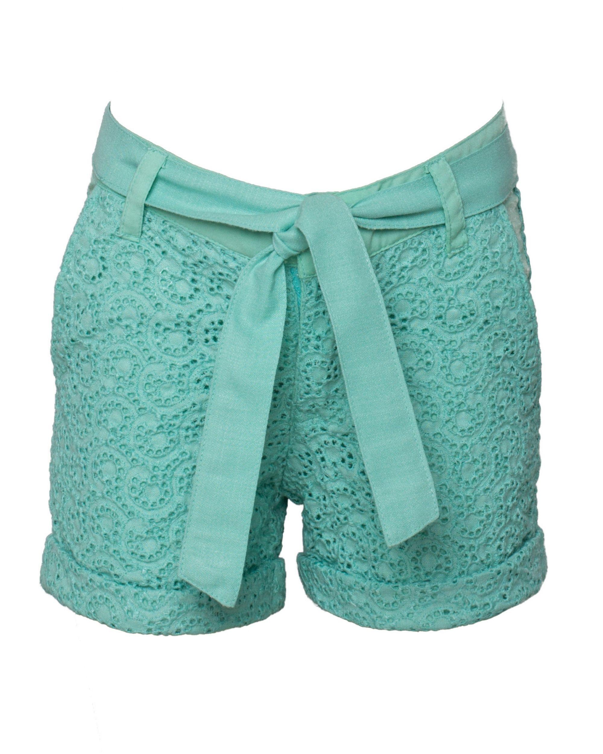 Mint green cutwork shorts