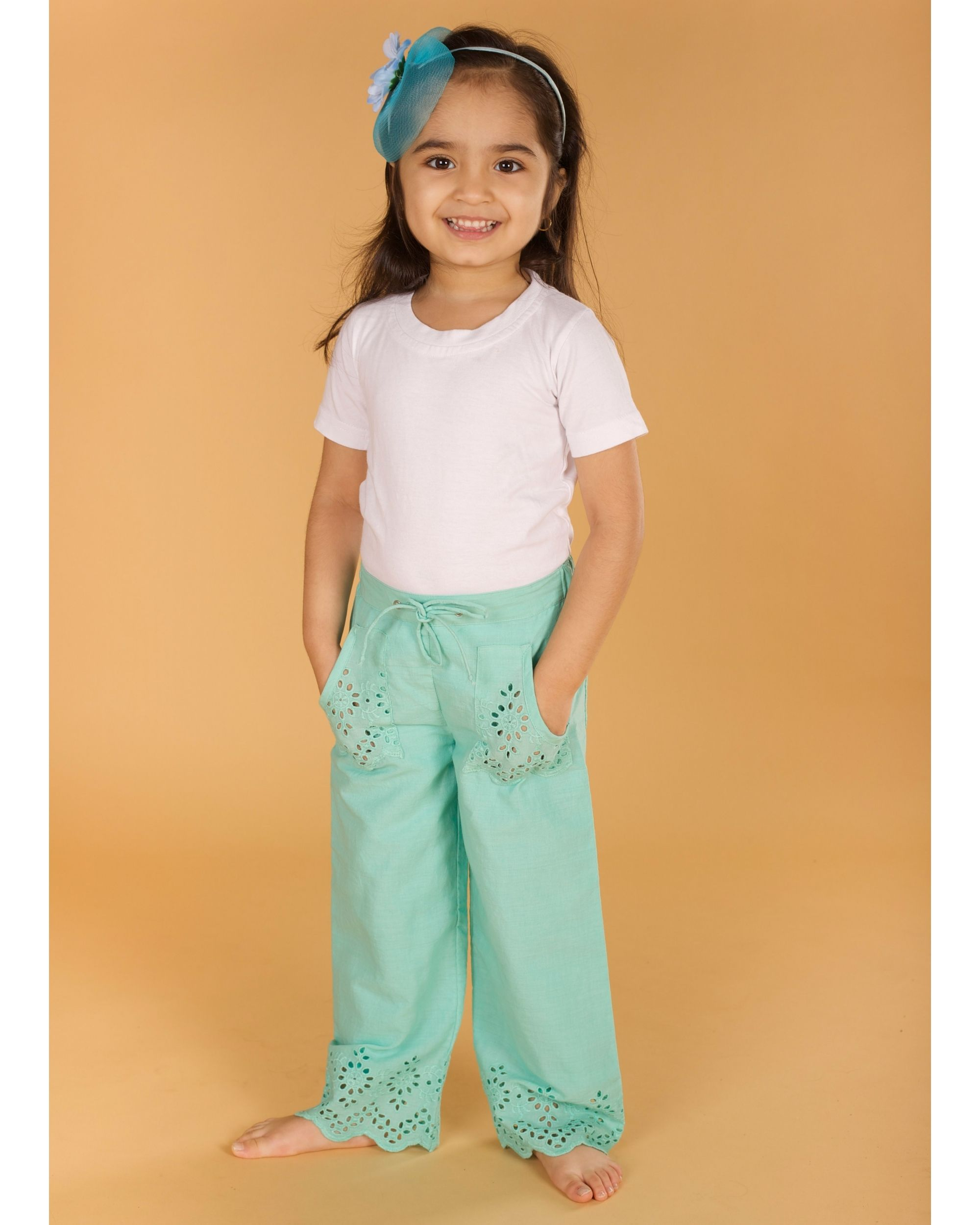 Light turquoise cutwork boho pants