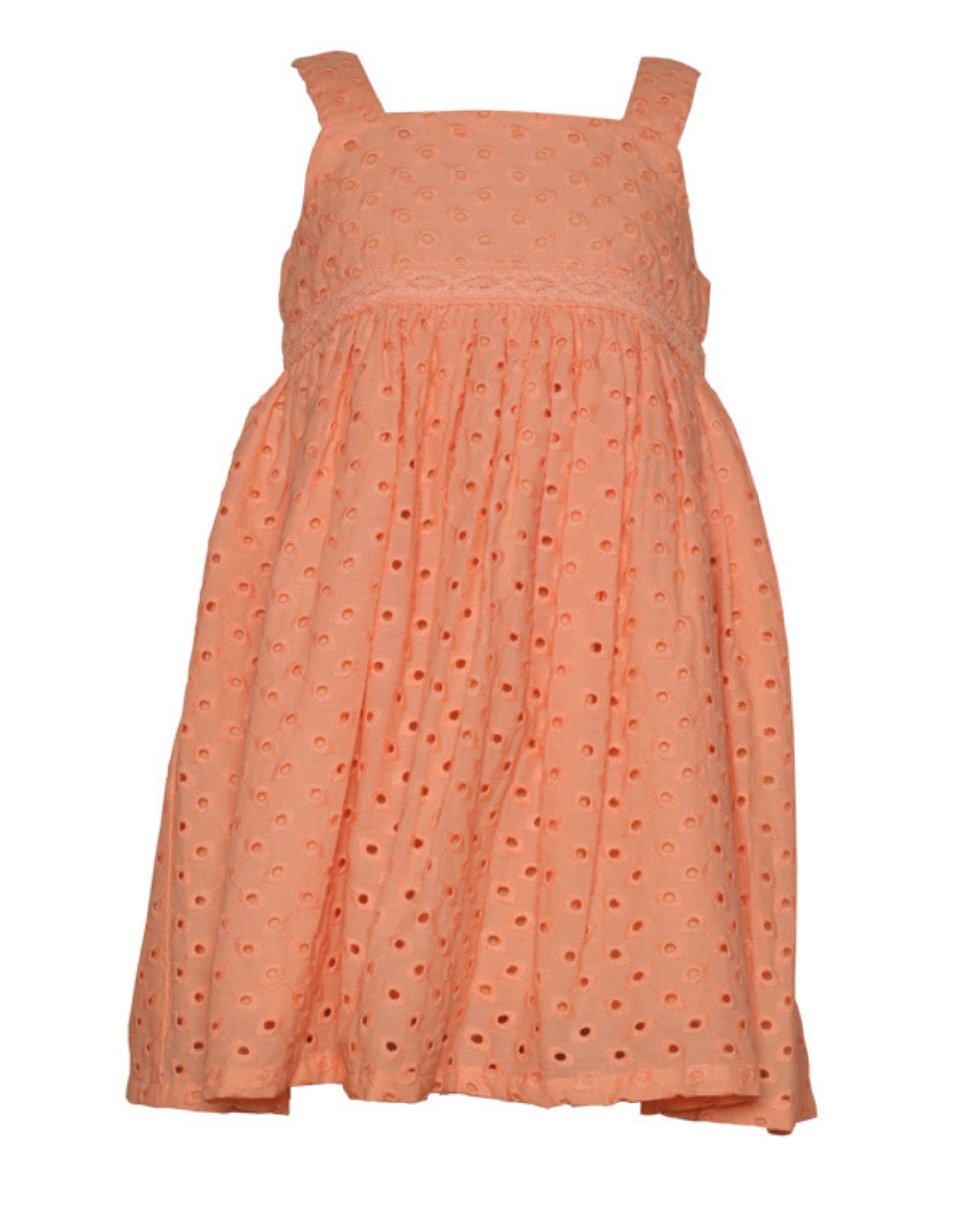 Peach gathered cutwork strap dress