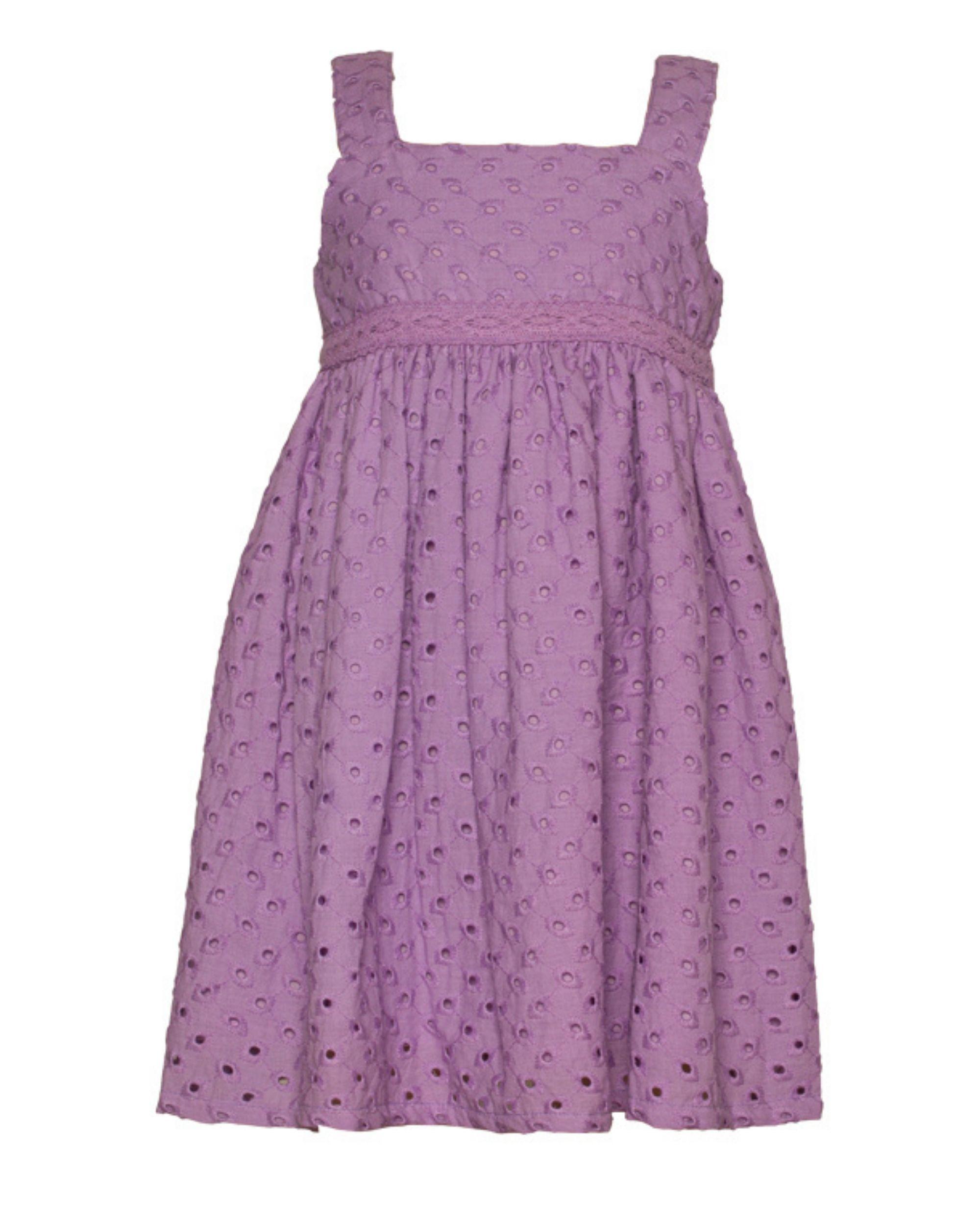 Lavender gathered cutwork strap dress