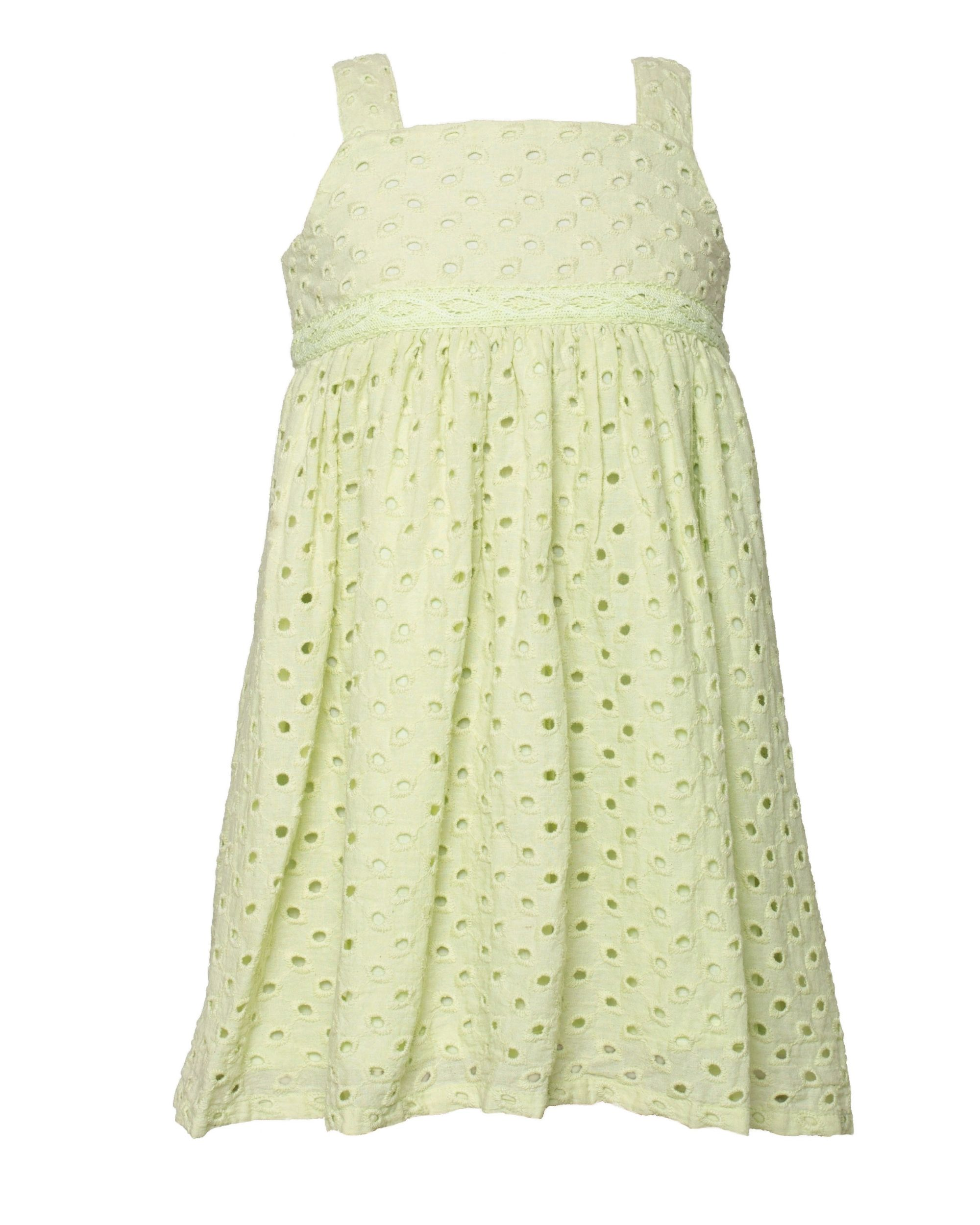 Green gathered cutwork strap dress