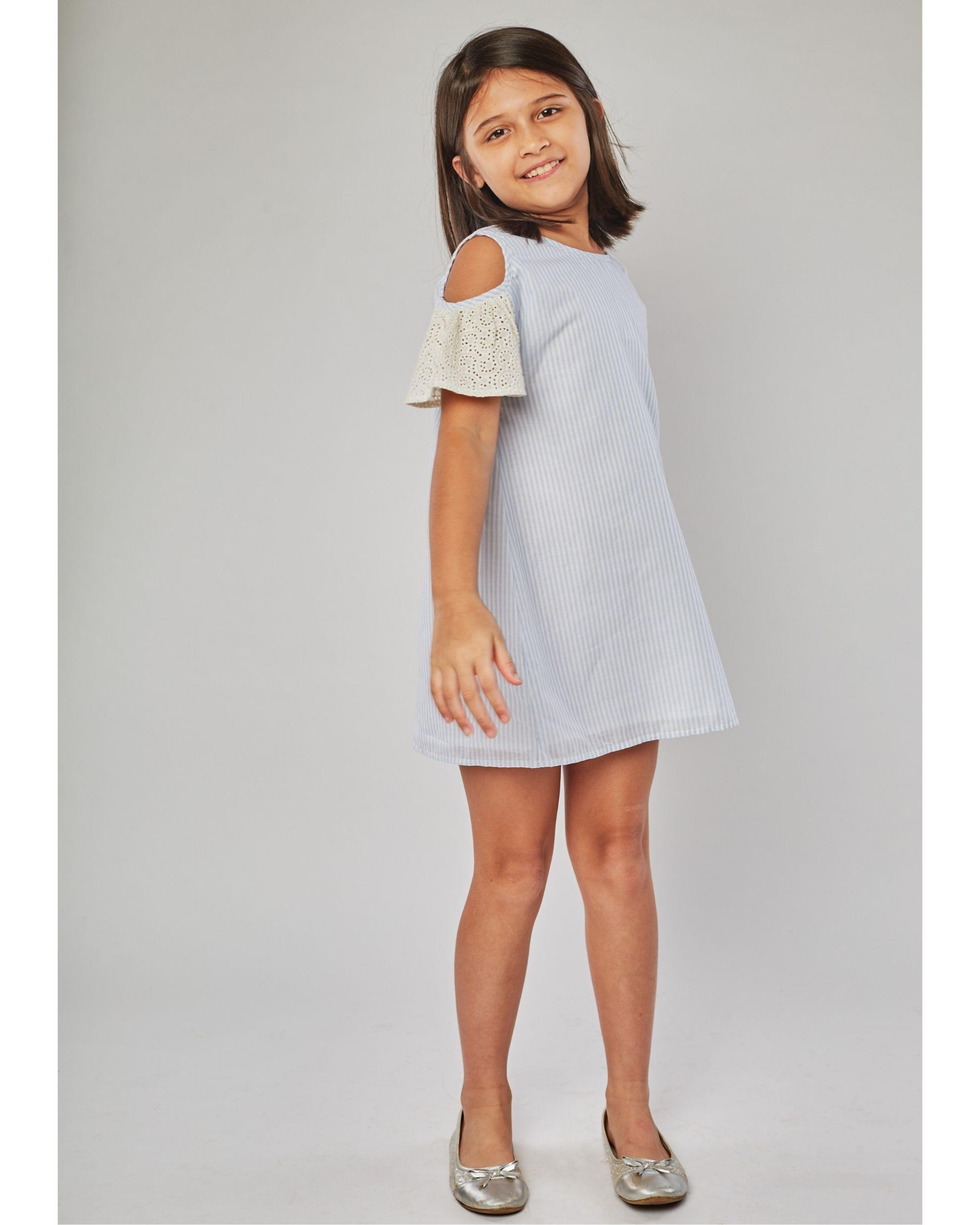 Blue striped cold shoulder dress