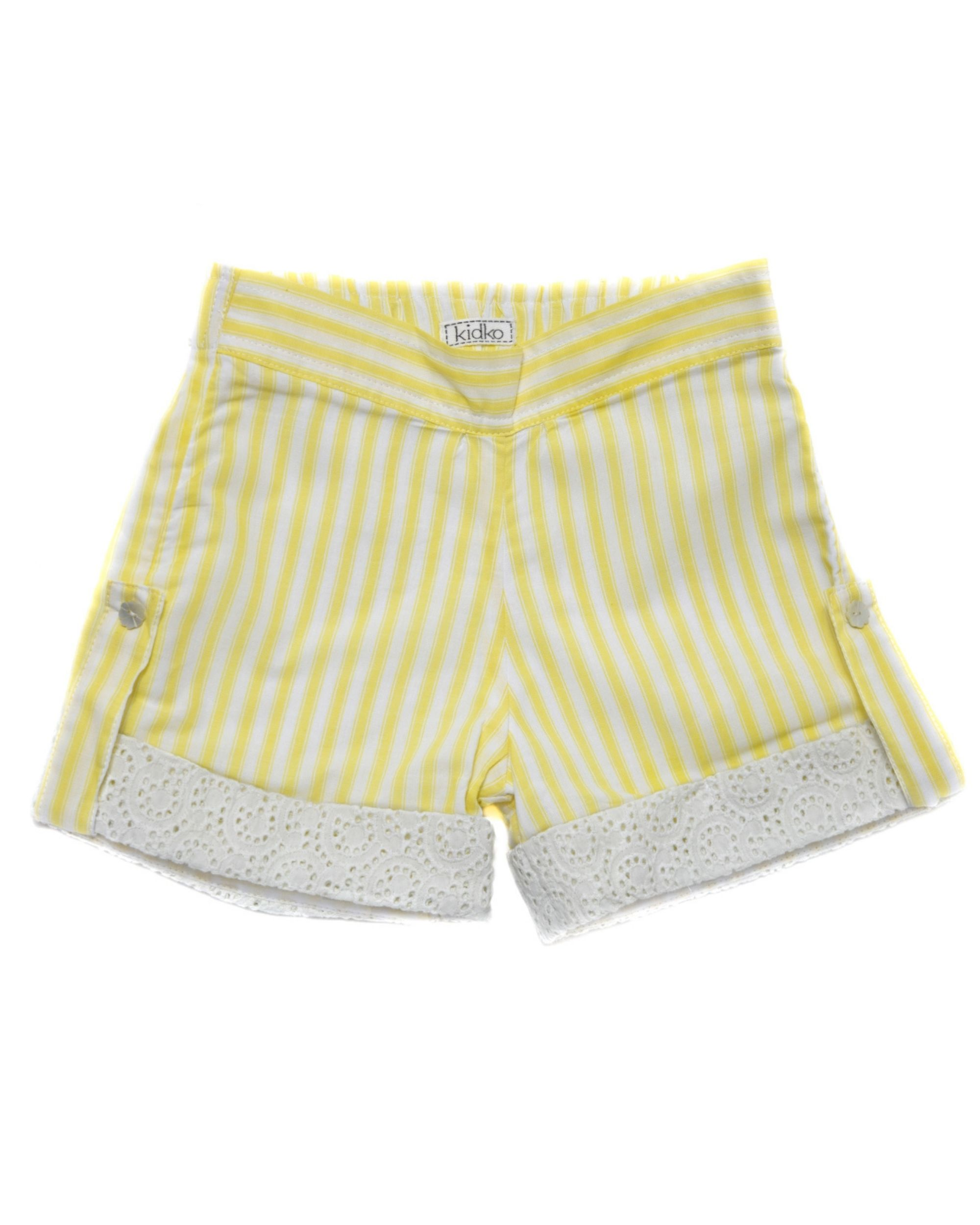 Yellow striped cutwork folded shorts