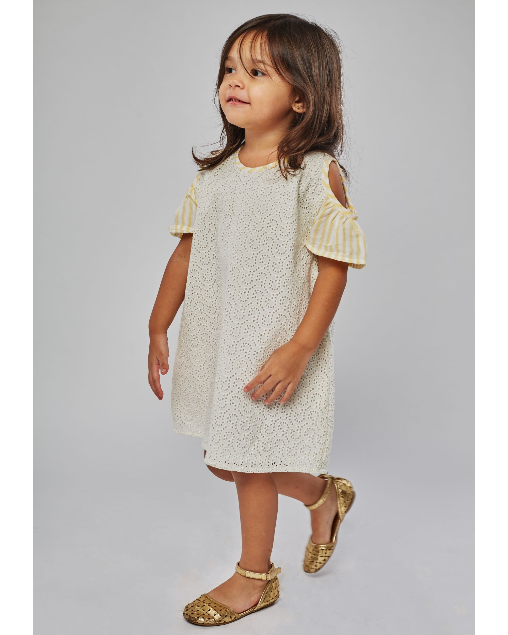 Cream and yellow cutwork cold shoulder dress