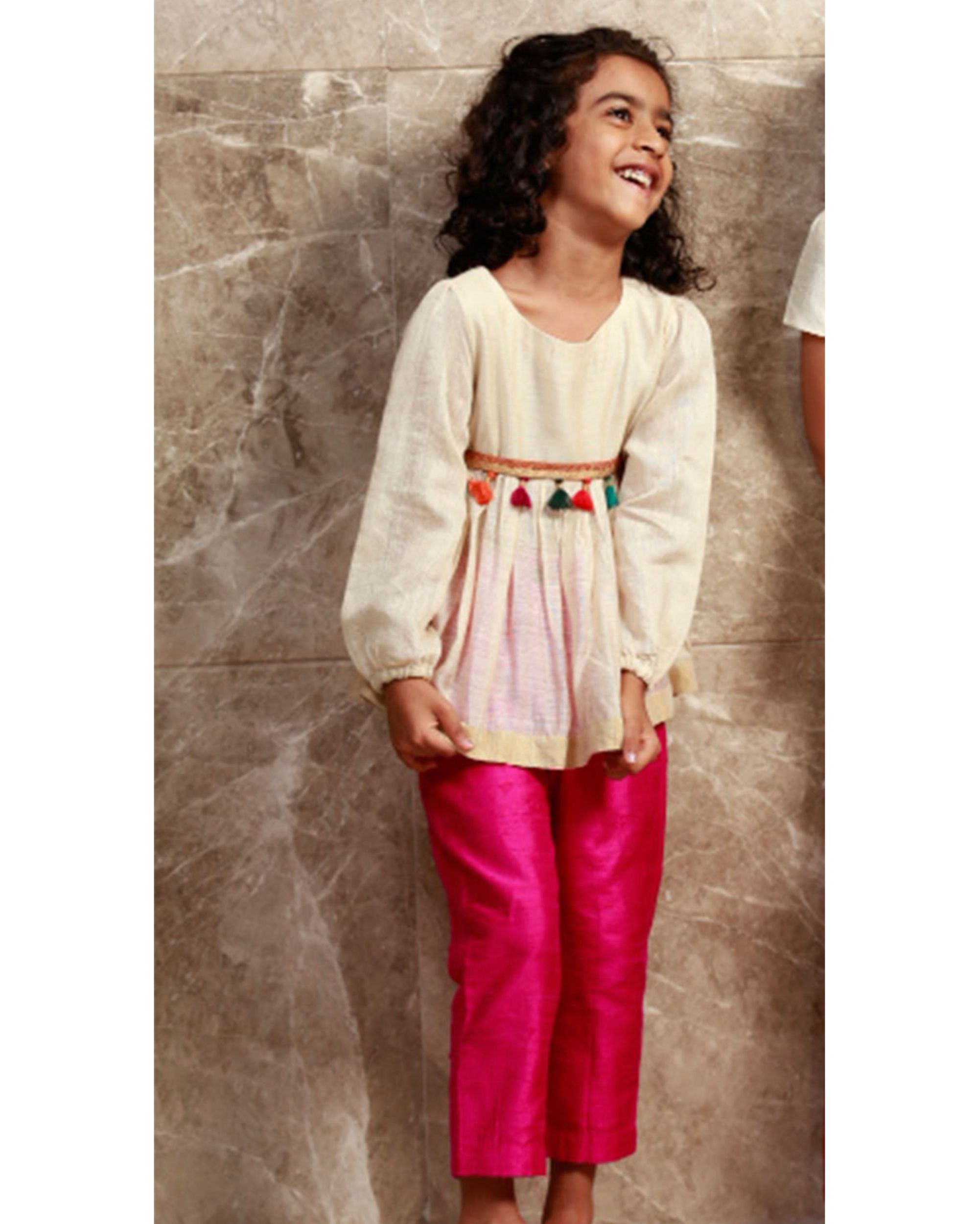 Off white chanderi peplum top with hot pink pants set - set of two