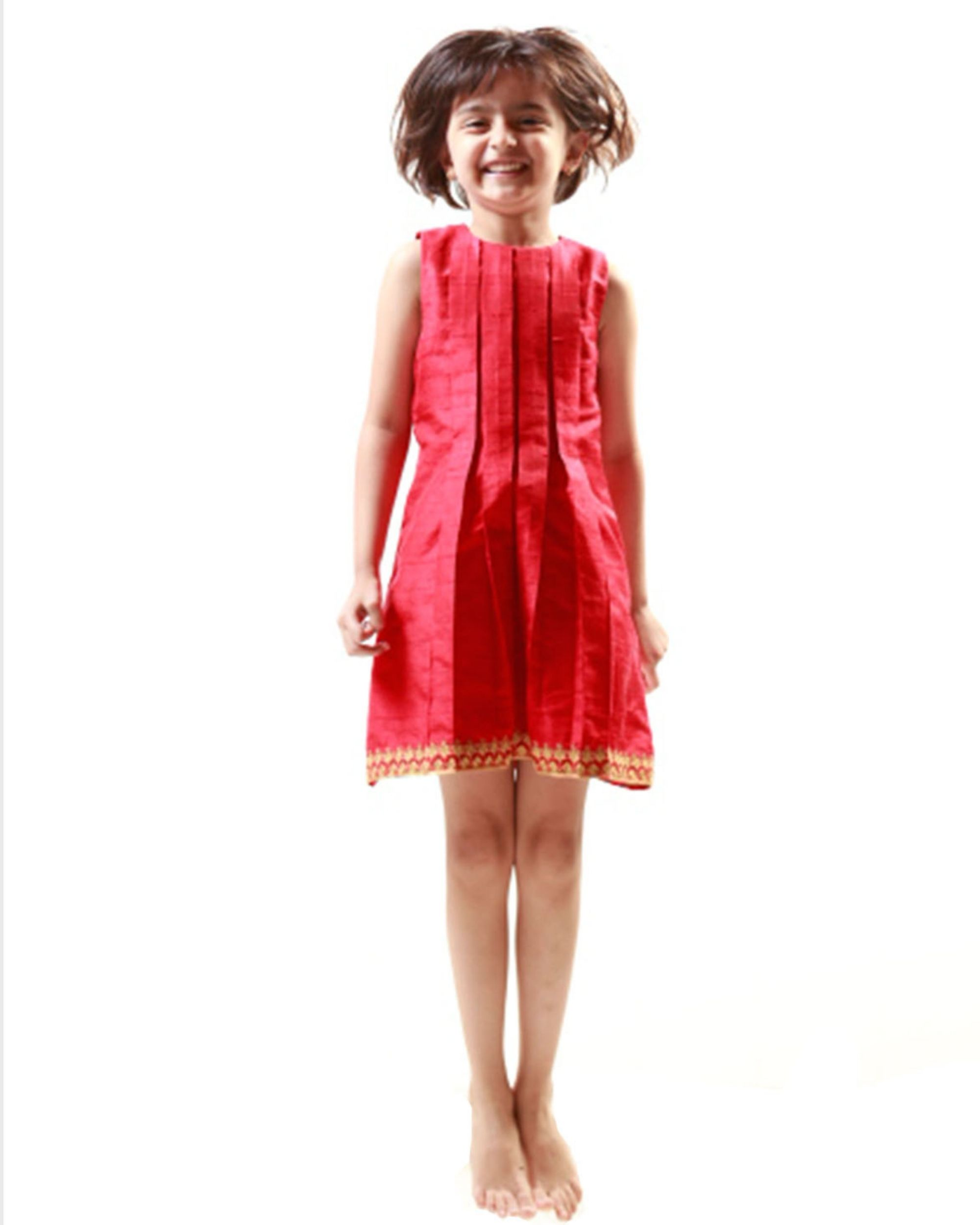 Red box pleated dress