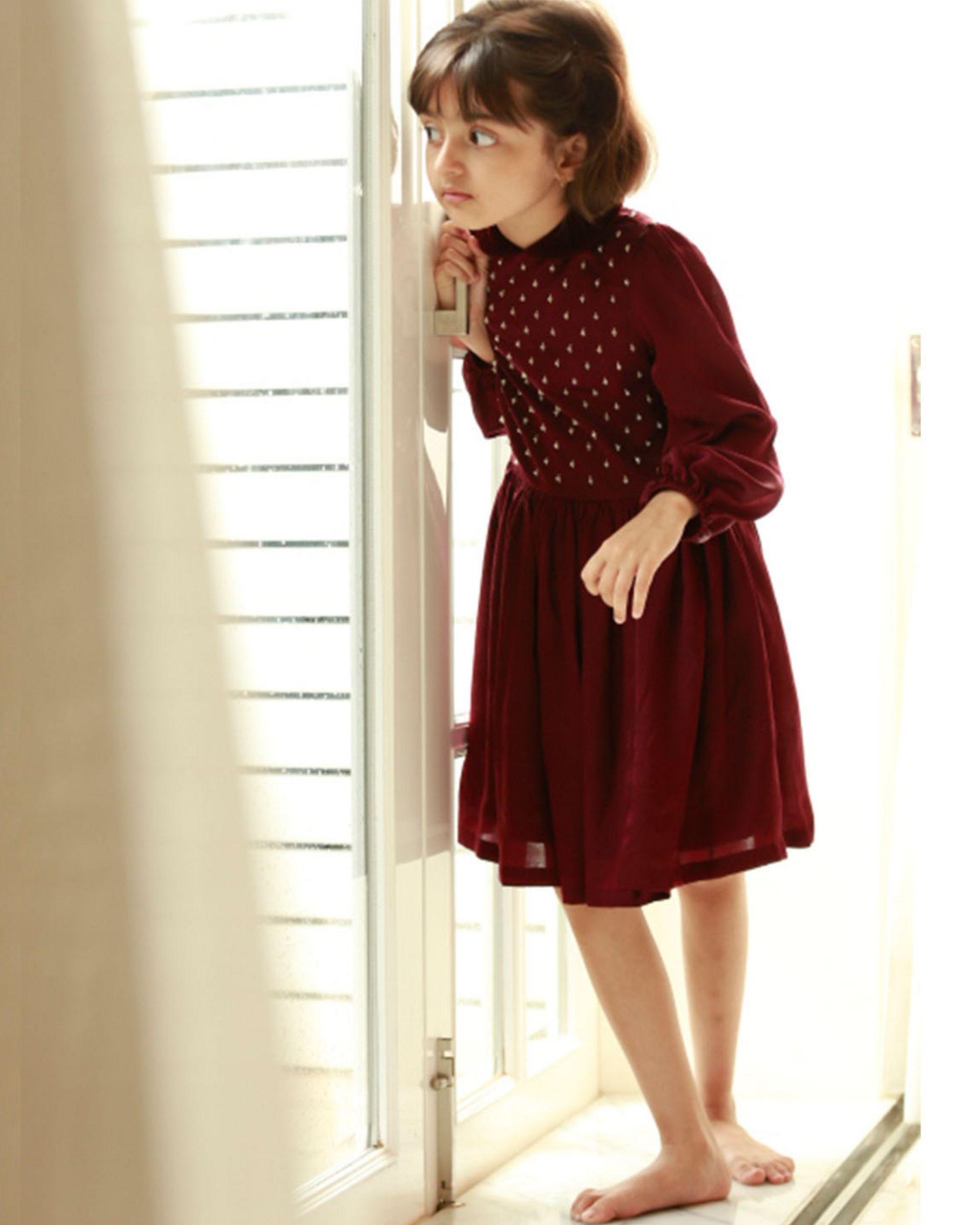 Wine georgette silk dress
