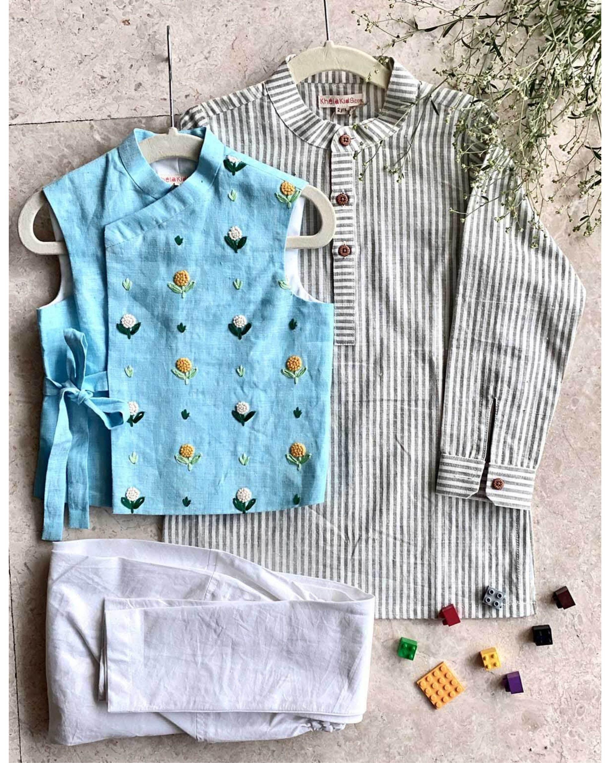 Grey striped kurta and pyjama with blue embroidered jacket - set of three