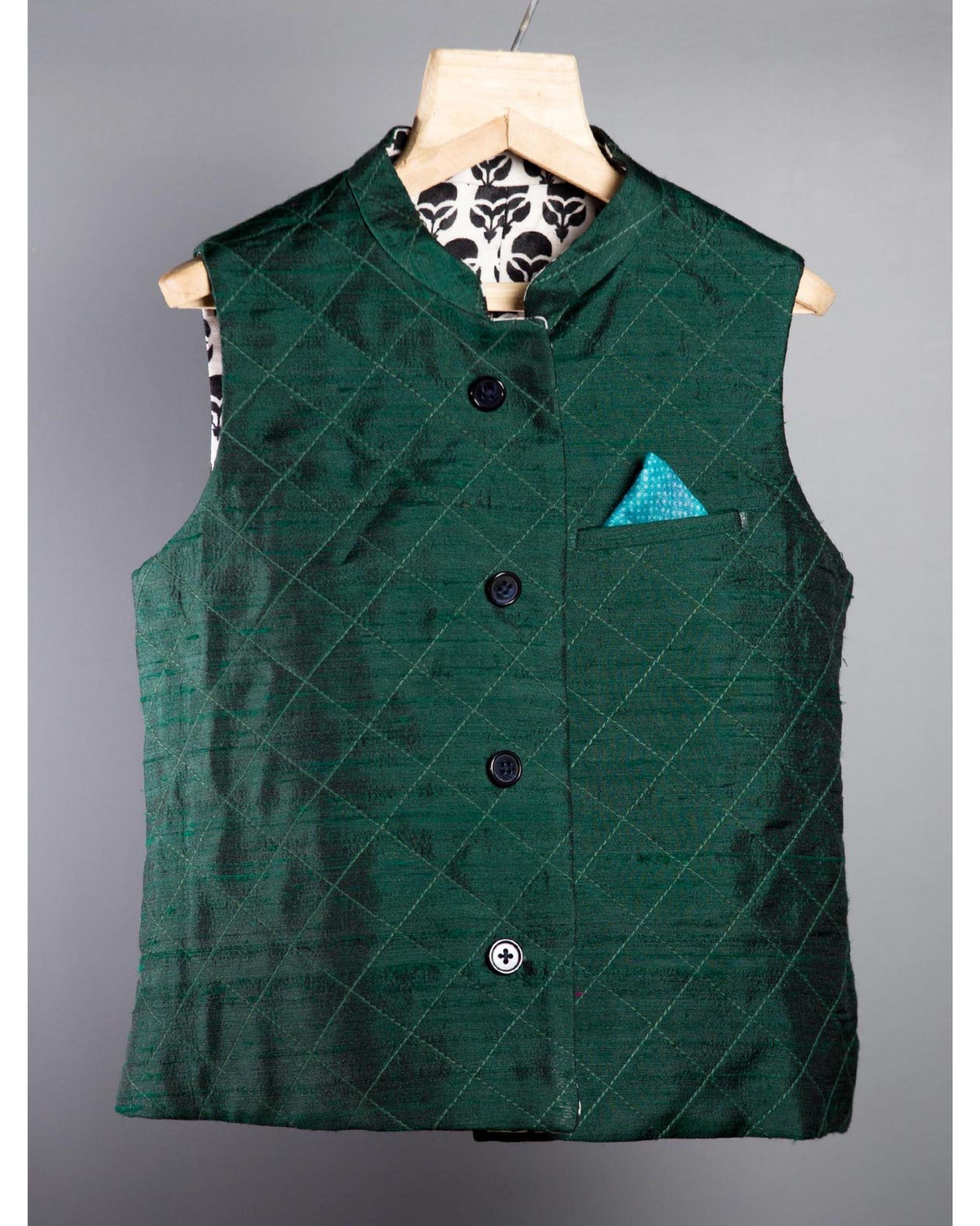 Bottle green embroidered jacket