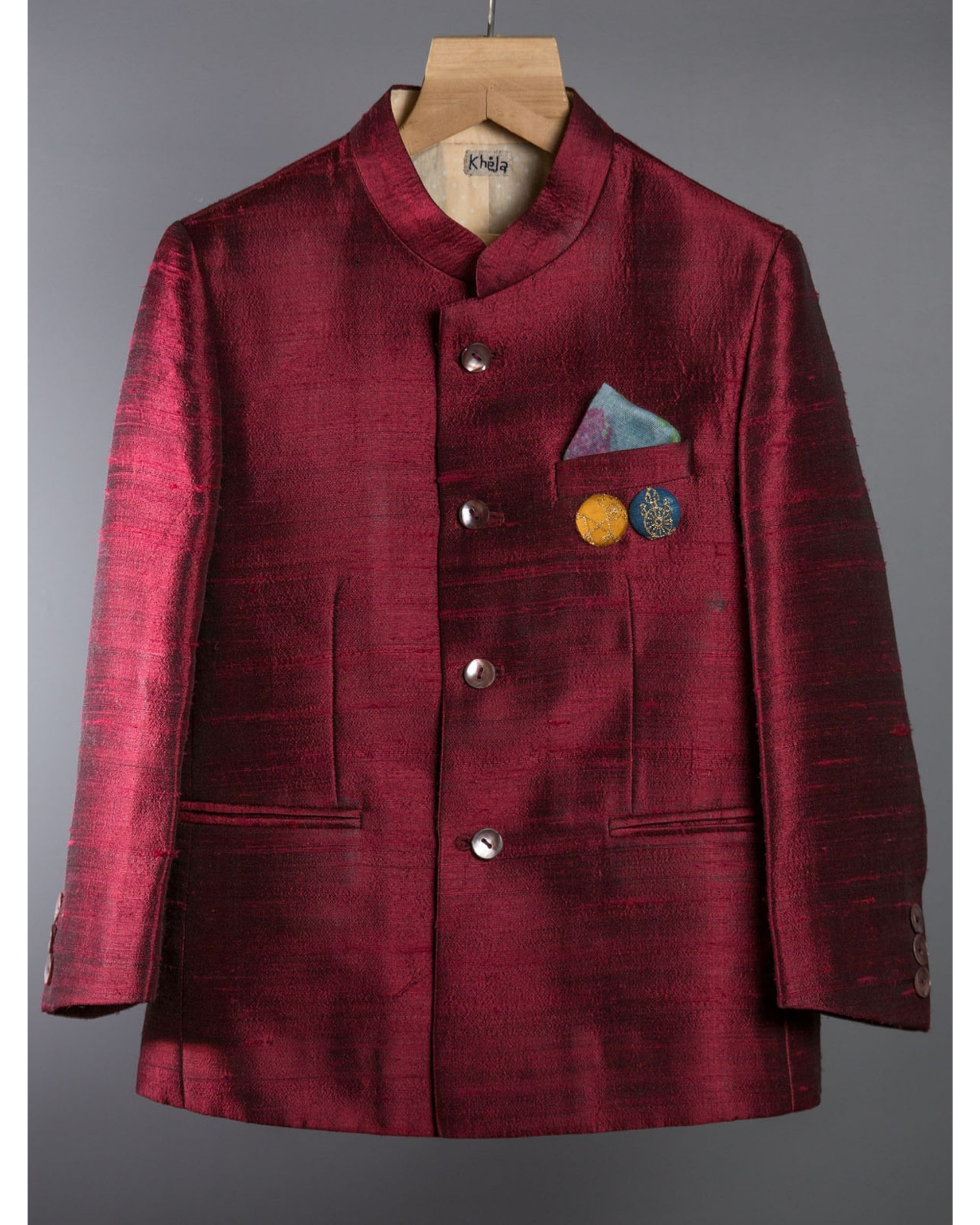 Maroon silk jacket
