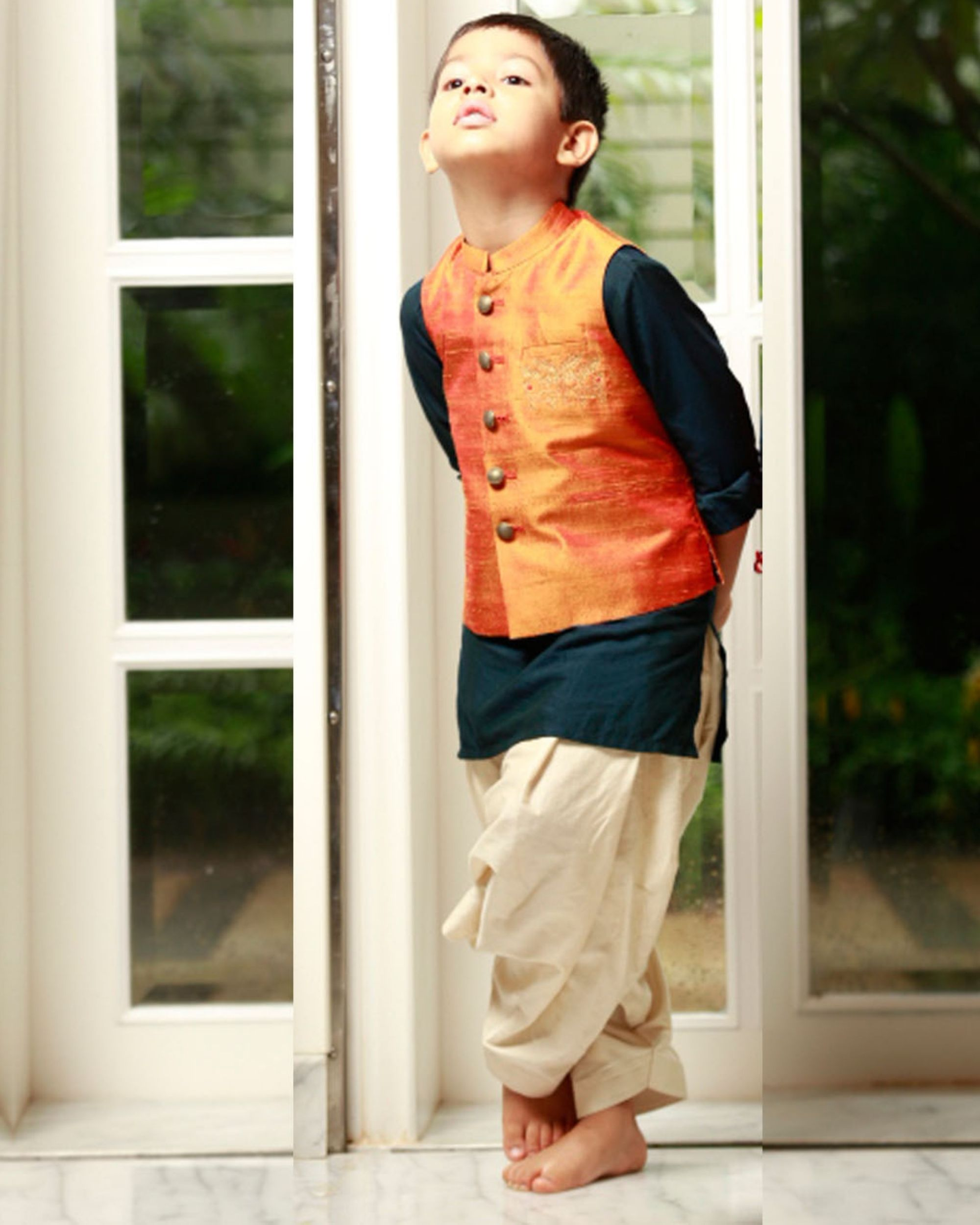 Indigo kurta and patiala pants with orange jacket - set of three