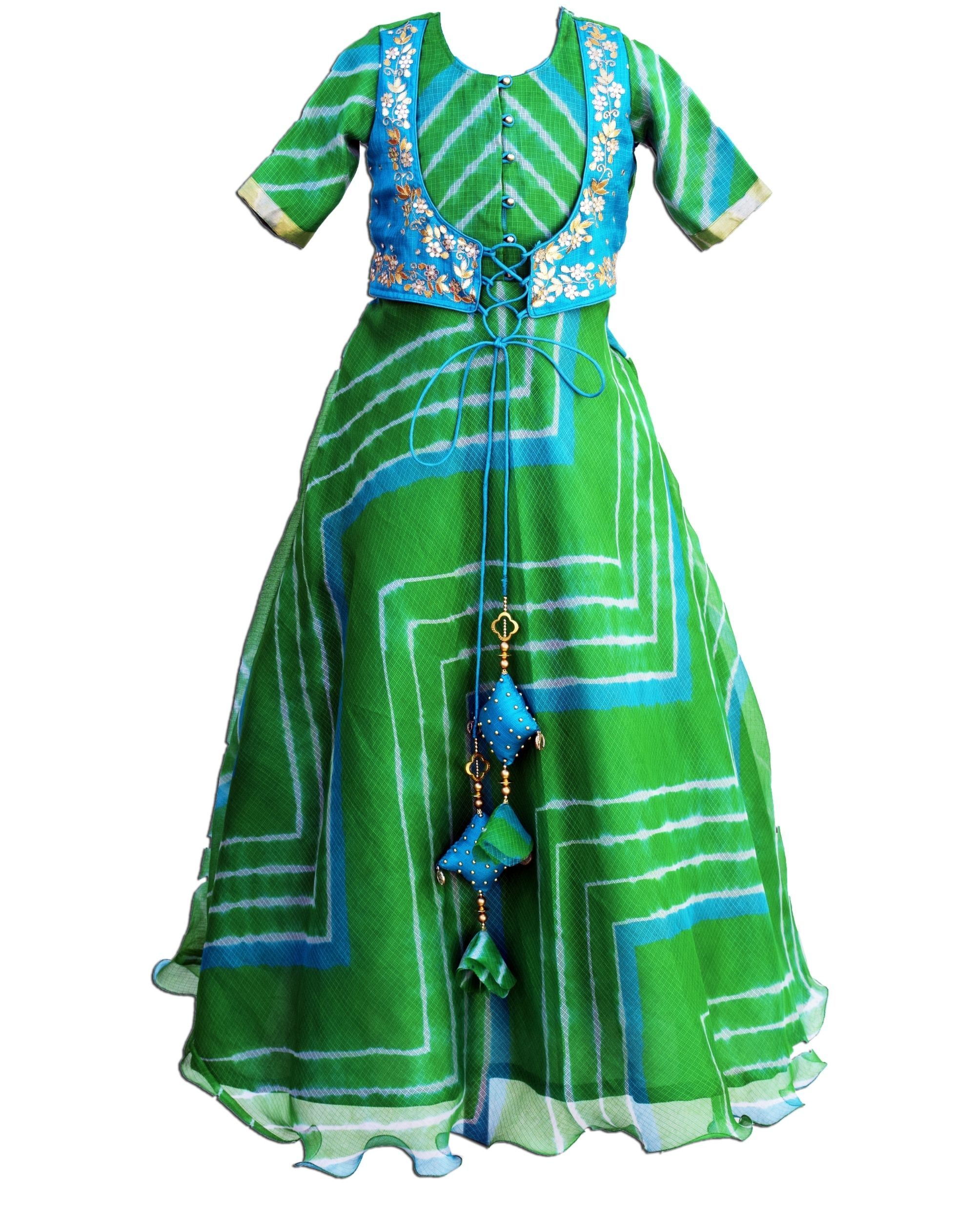 Green leheriya flared dress with attached jacket
